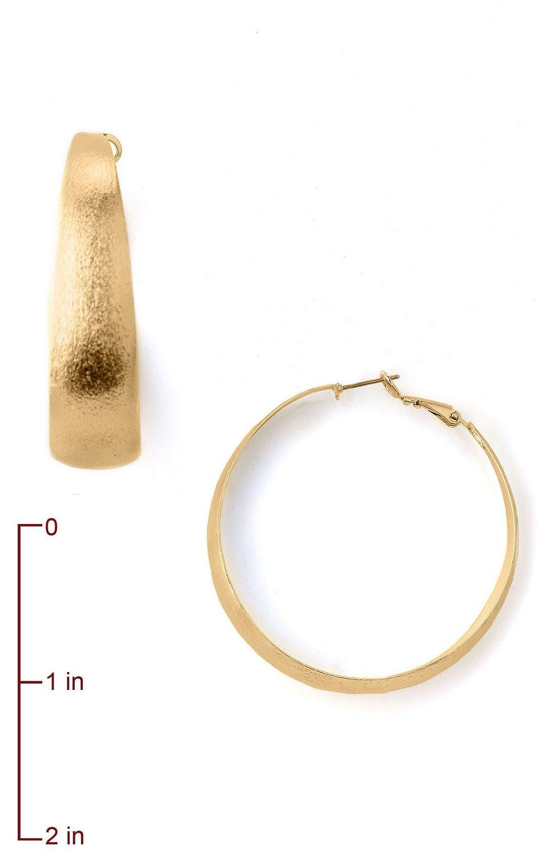 Large Wide Brushed Gold Hoop Earrings,                             Alternate thumbnail 2, color,                             GLD