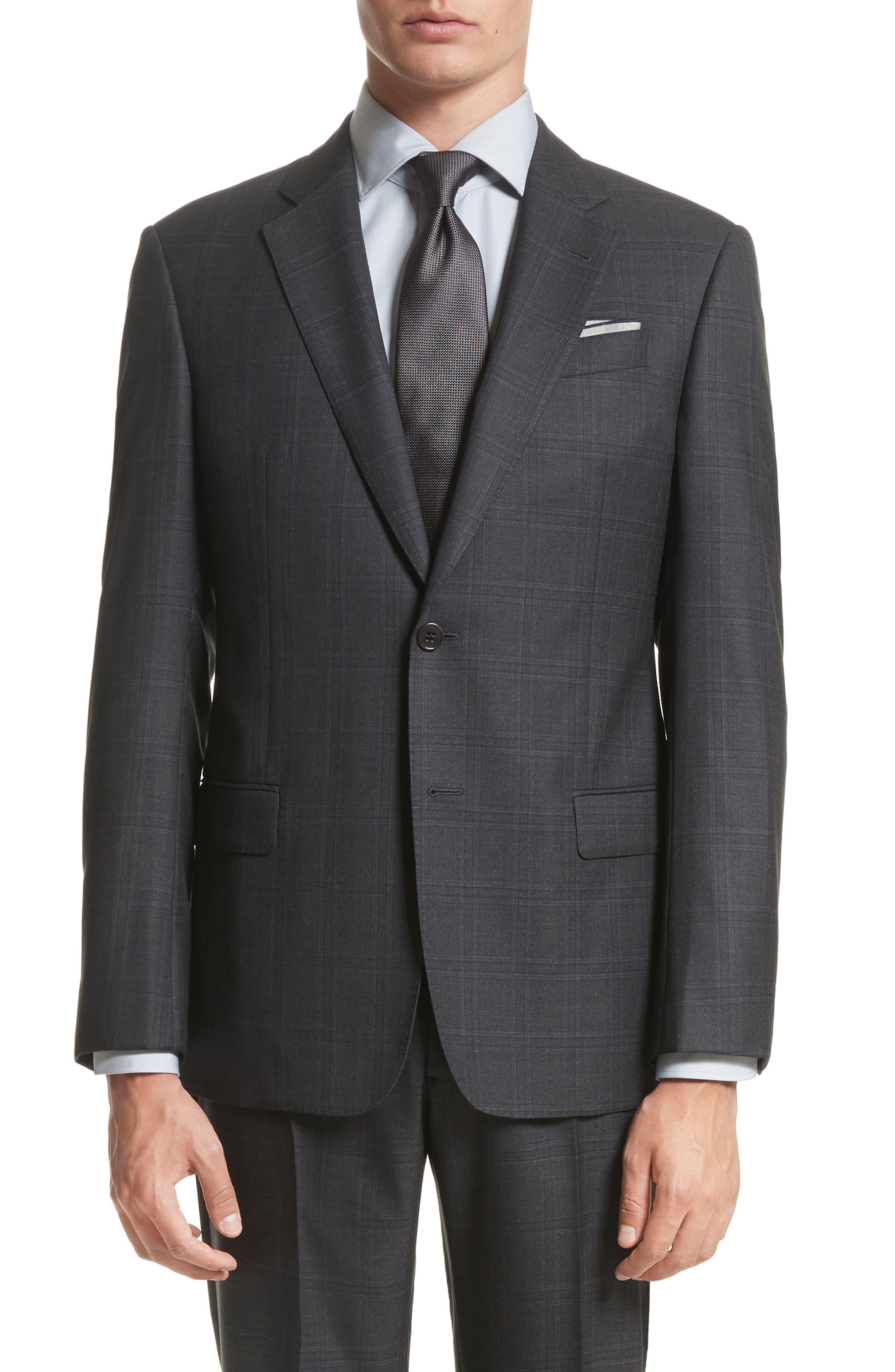 G-Line Trim Fit Plaid Wool Suit,                             Alternate thumbnail 5, color,                             017