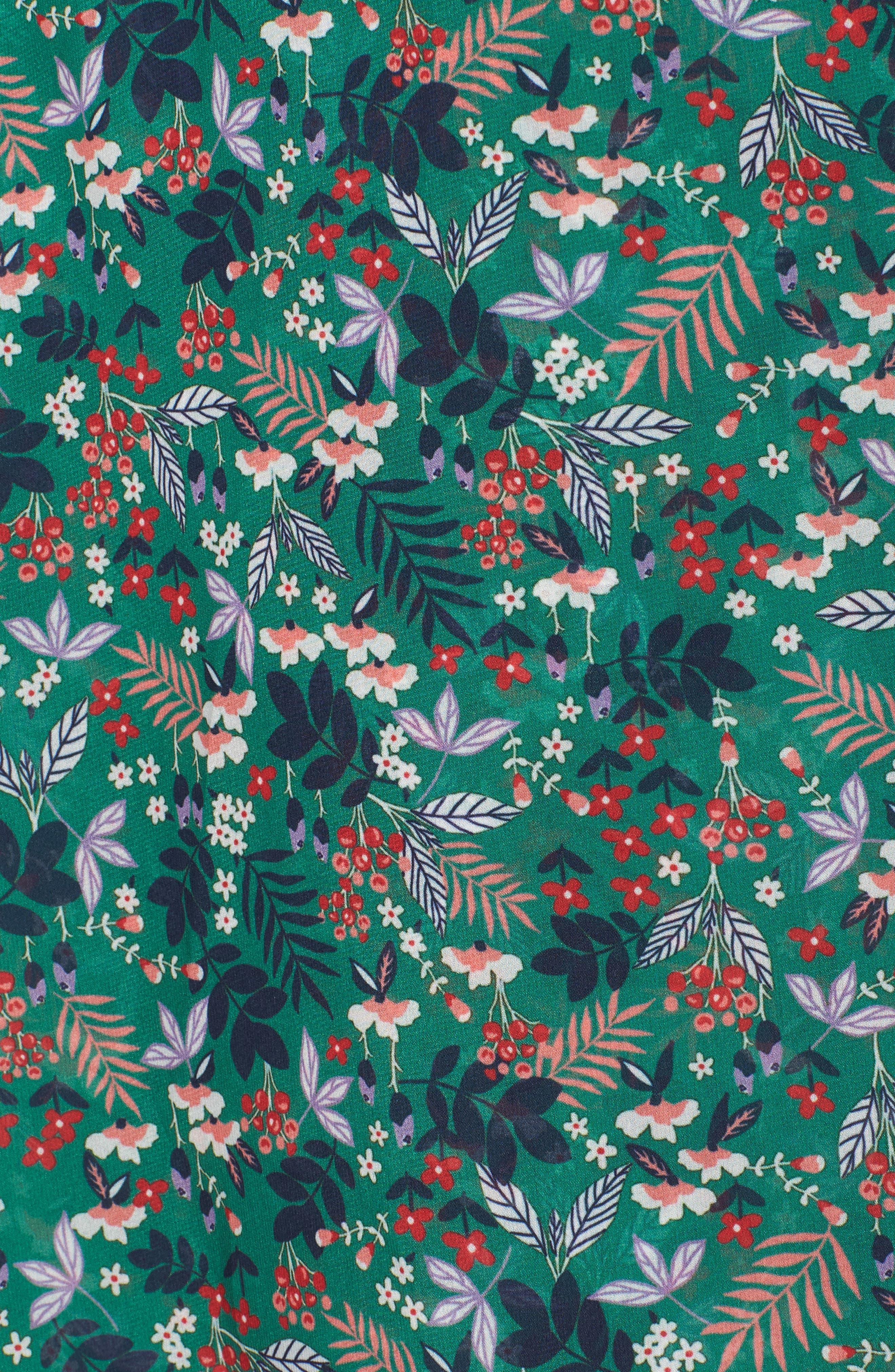 Viridian Floral Wrap Dress,                             Alternate thumbnail 6, color,