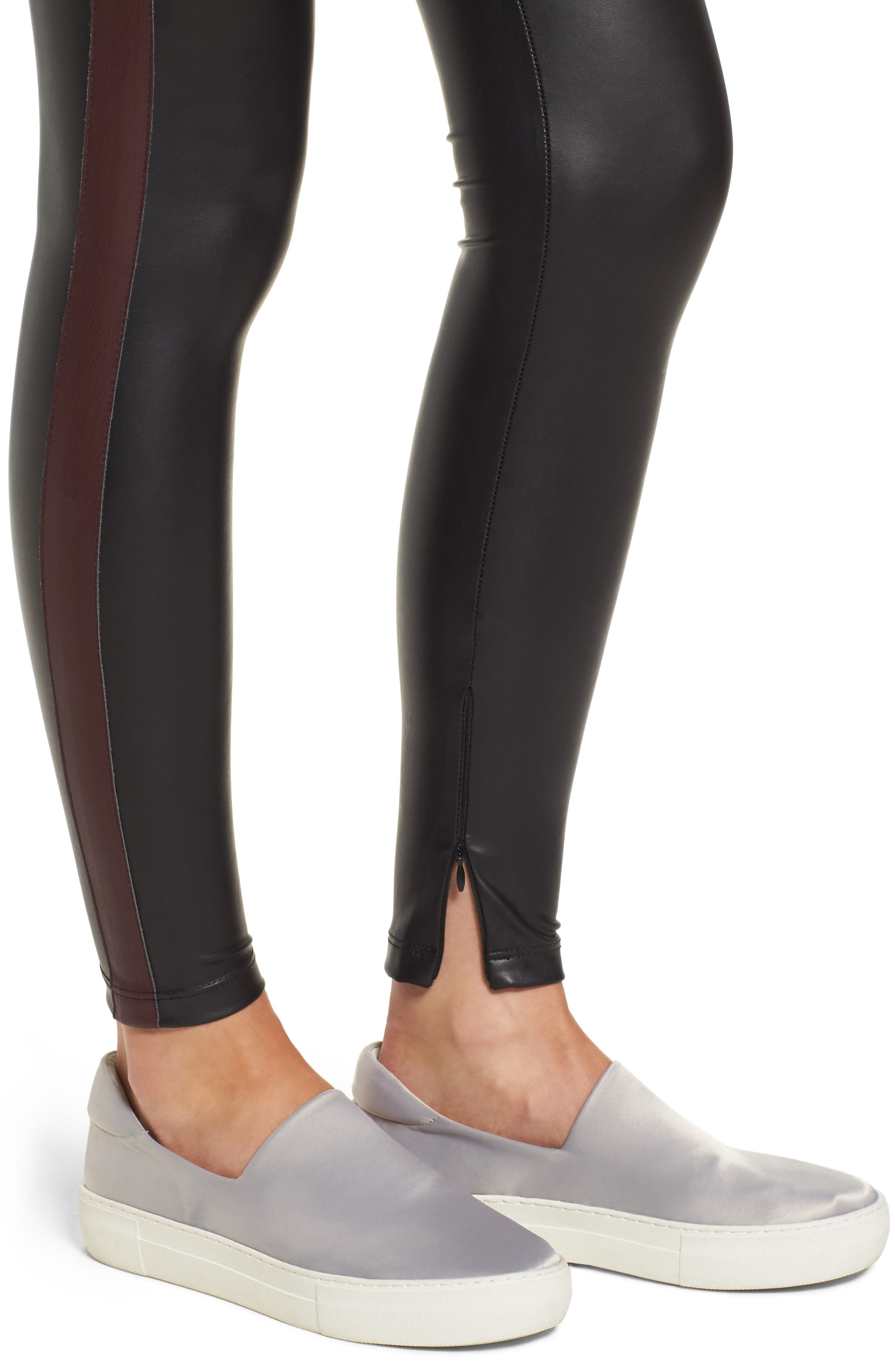 Tuxedo Stripe Zip Faux Leather Leggings,                             Alternate thumbnail 8, color,