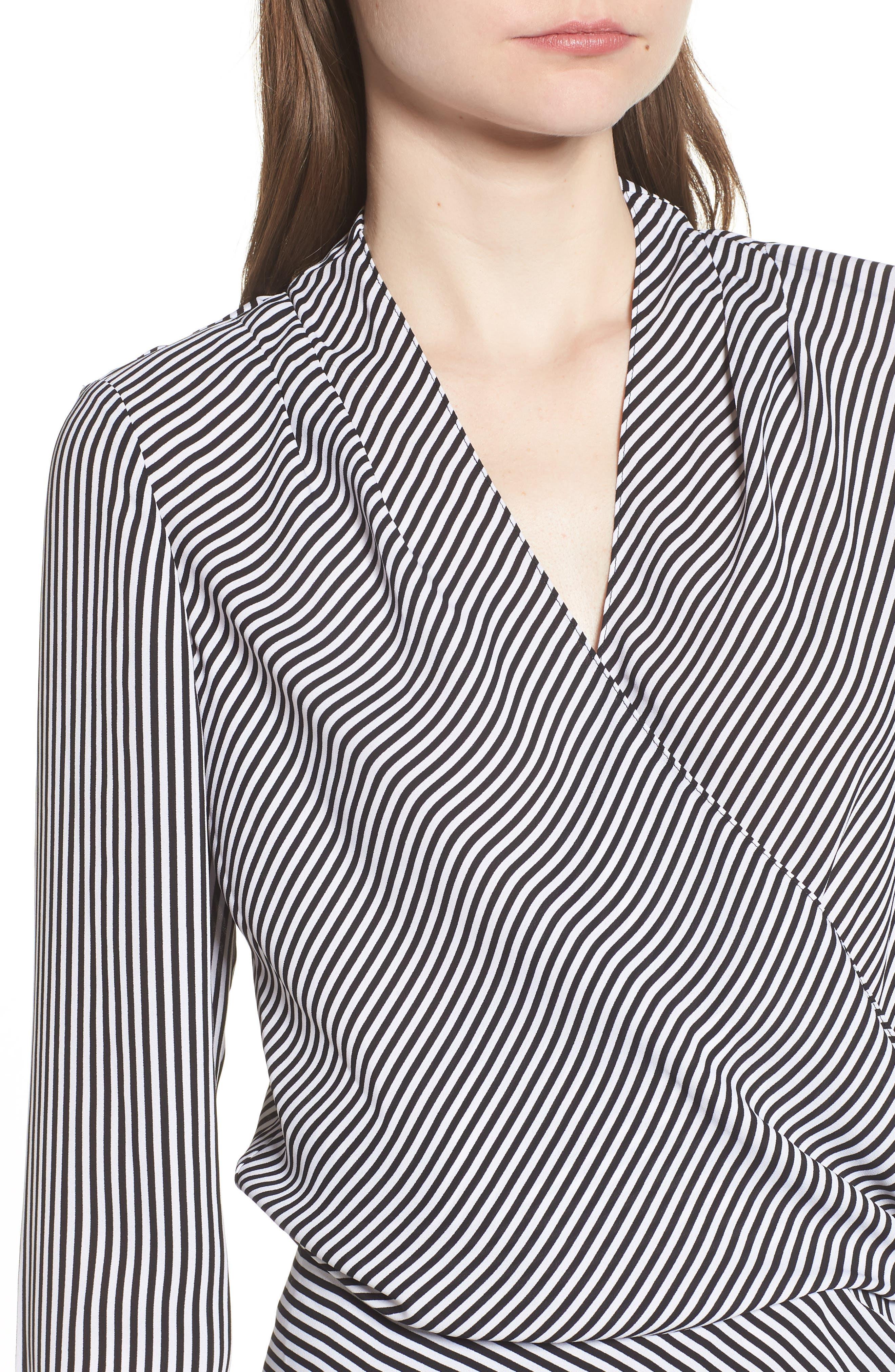 Long Sleeve Wrap Blouse,                             Alternate thumbnail 4, color,                             BLACK- WHITE STRIPE
