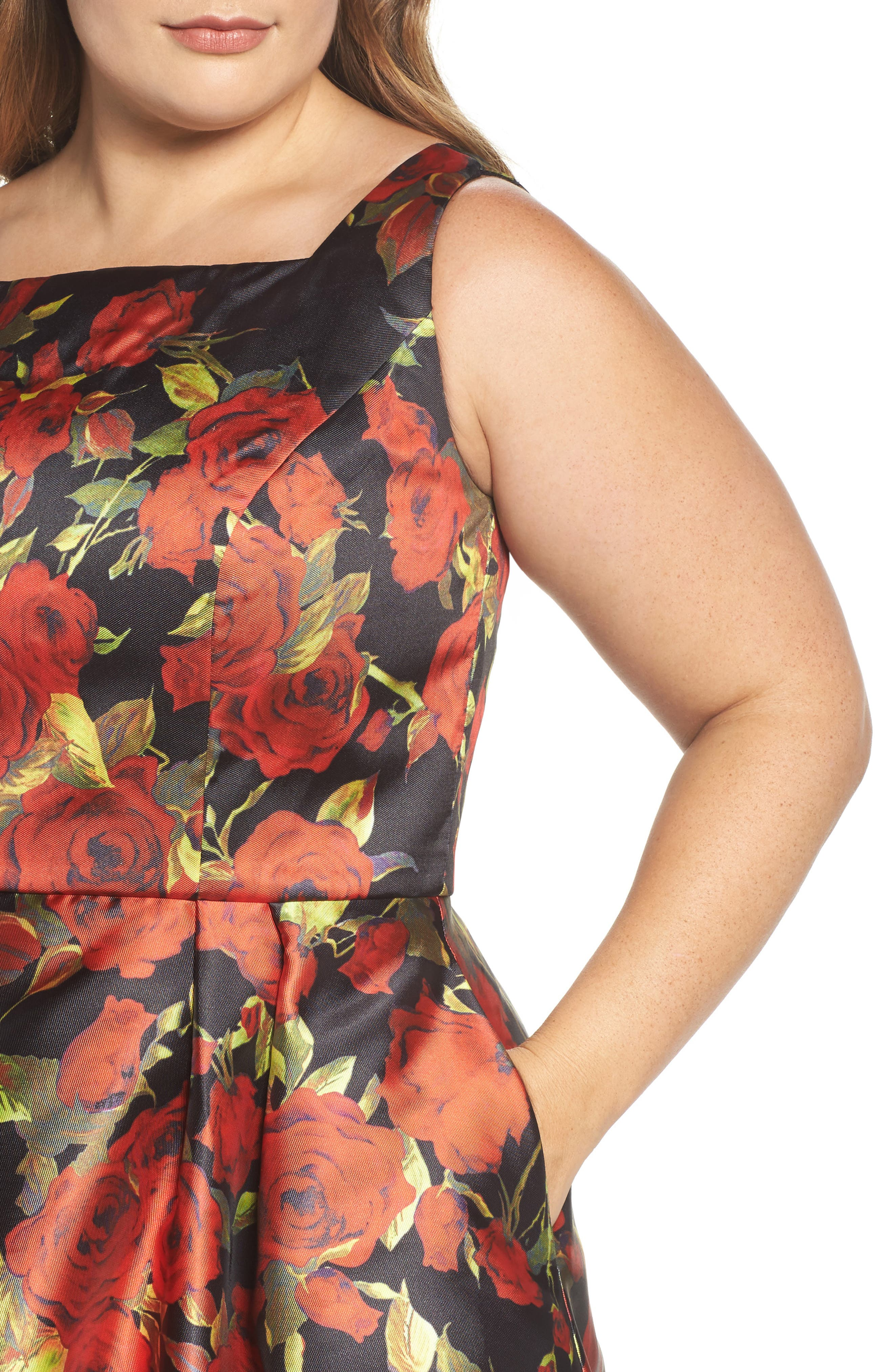 Floral Fit & Flare Dress,                             Alternate thumbnail 4, color,                             001