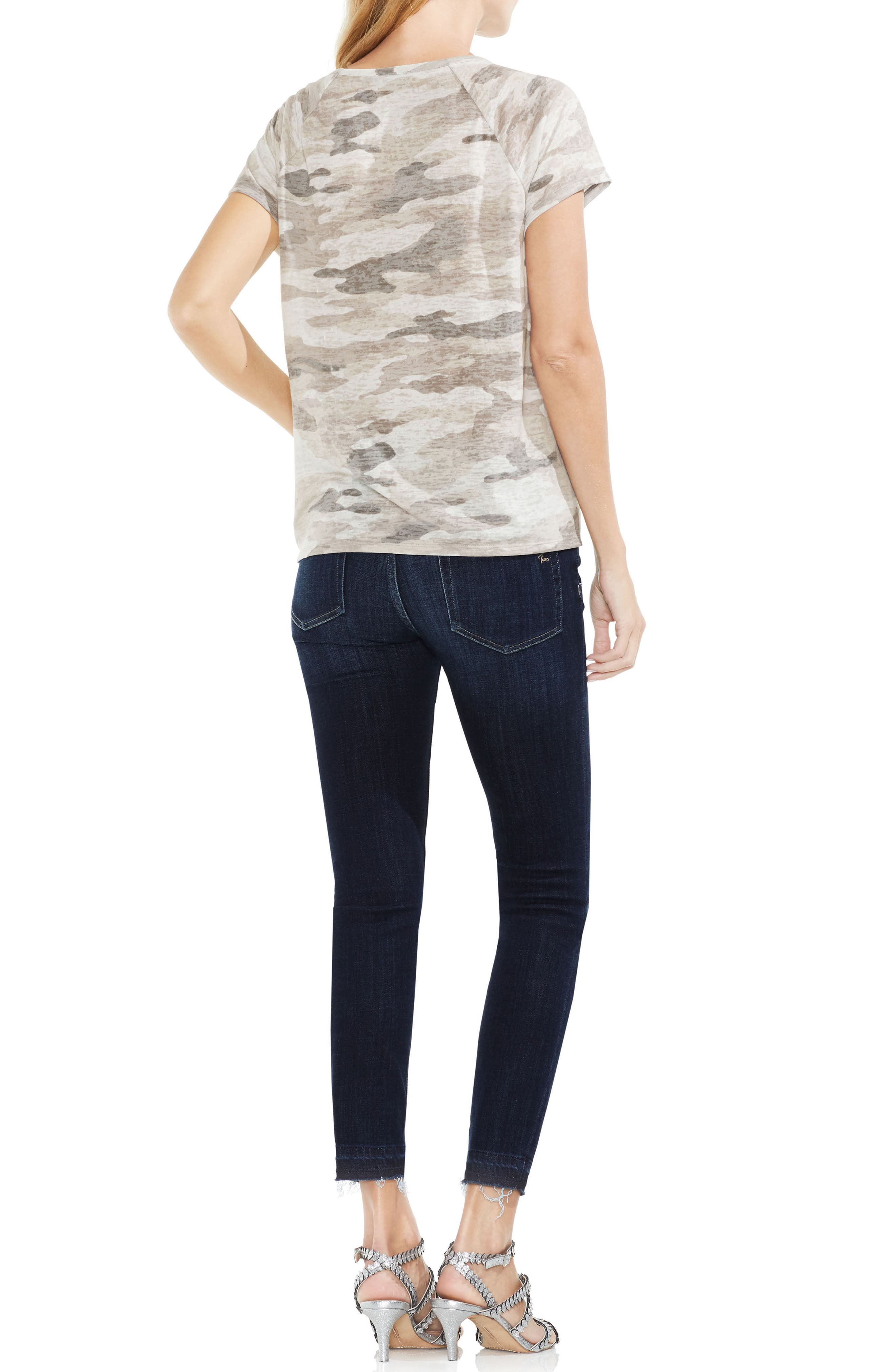 Avenue Camo Lace-Up Top,                             Alternate thumbnail 3, color,                             364