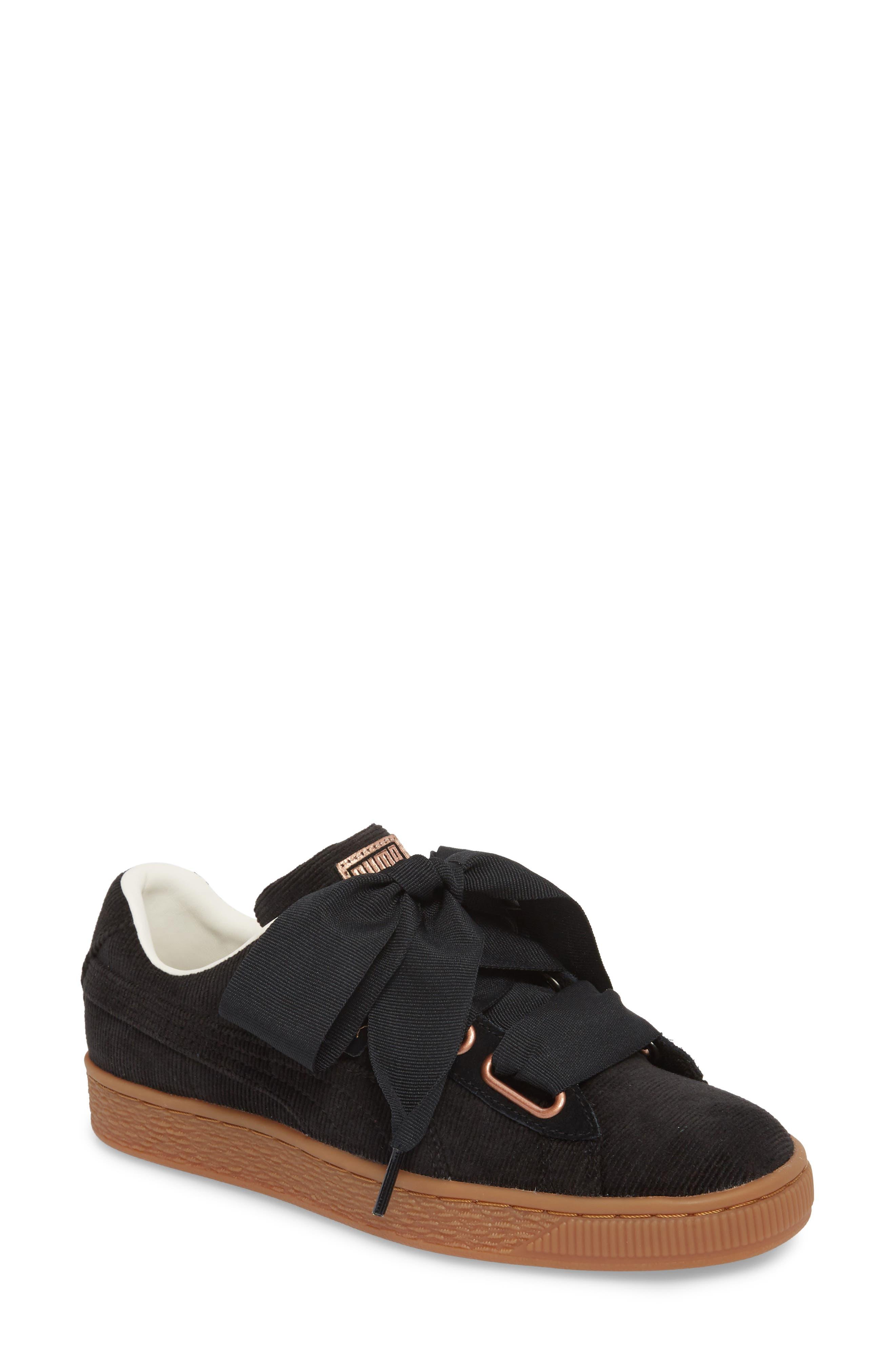 Basket Heart Sneaker,                             Main thumbnail 1, color,                             BLACK/ PUMA BLACK