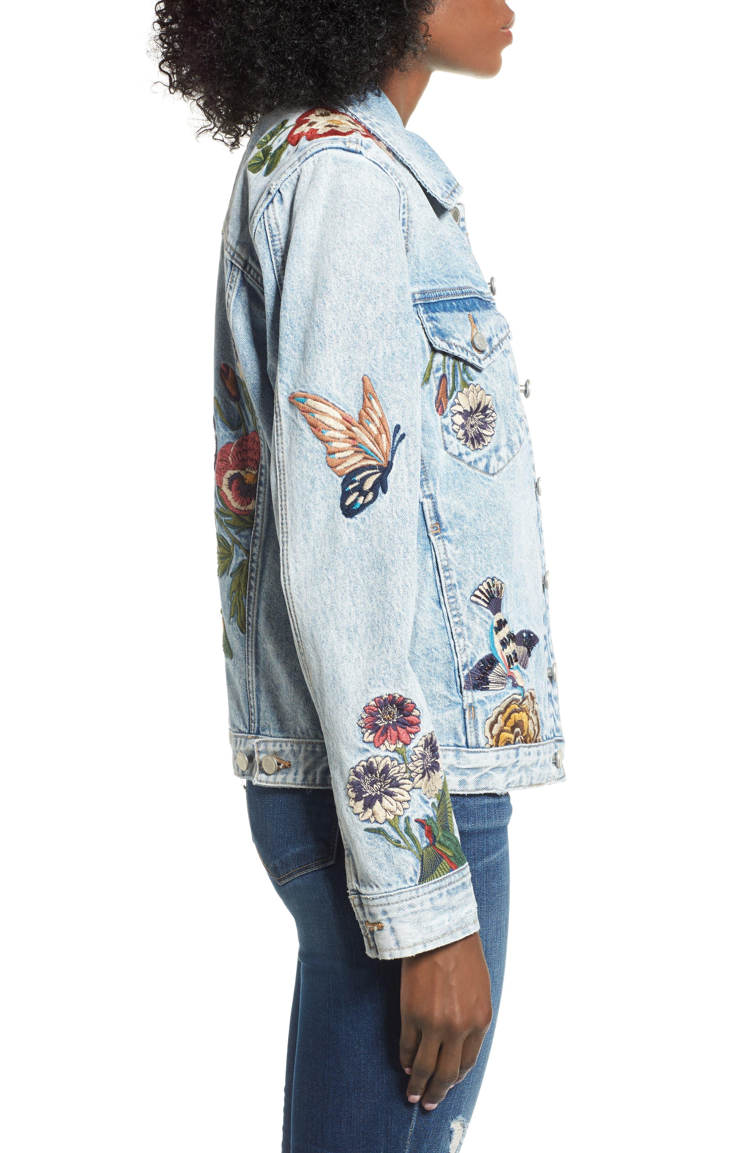 Embroidered Denim Jacket,                             Alternate thumbnail 3, color,                             400