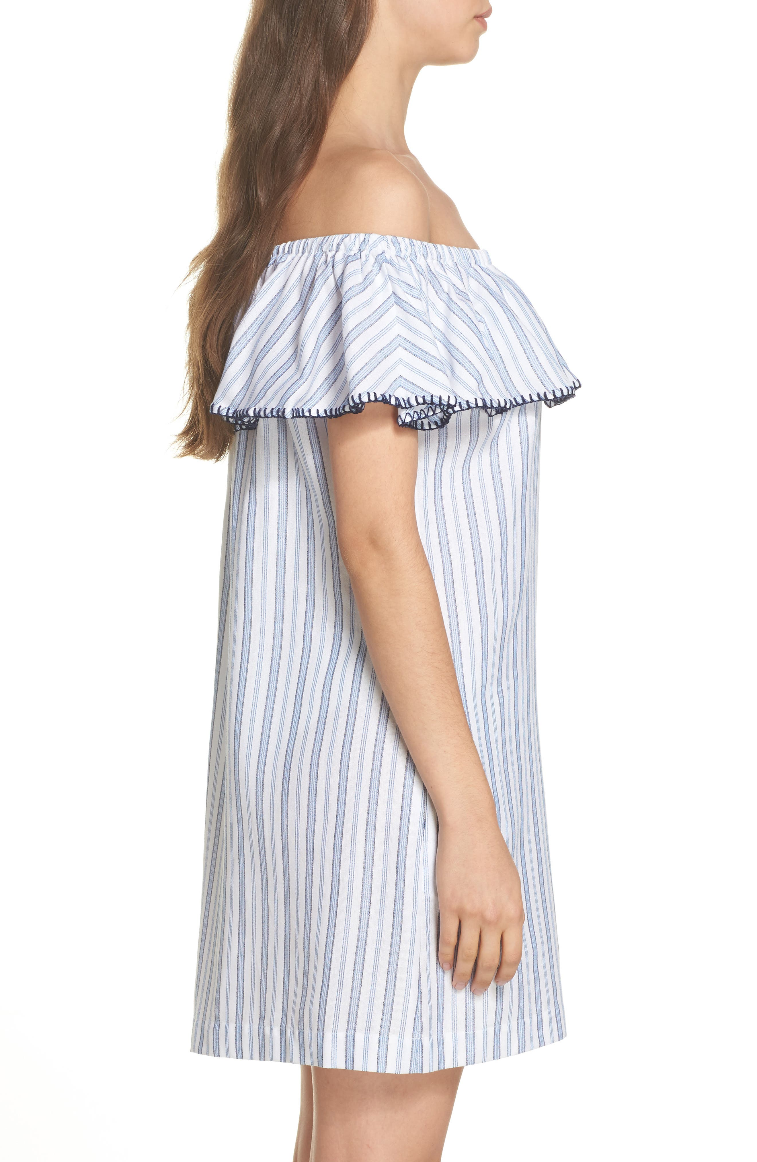 Ticking Stripe Off the Shoulder Cover-Up Dress,                             Alternate thumbnail 3, color,                             100