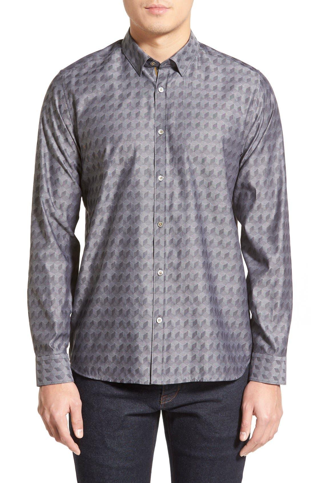 'Chaymo' Modern Slim Fit Geometric Chambray Sport Shirt,                             Main thumbnail 1, color,                             001