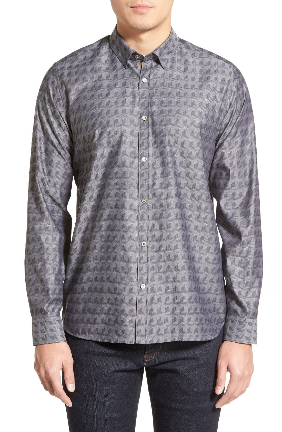 'Chaymo' Modern Slim Fit Geometric Chambray Sport Shirt, Main, color, 001