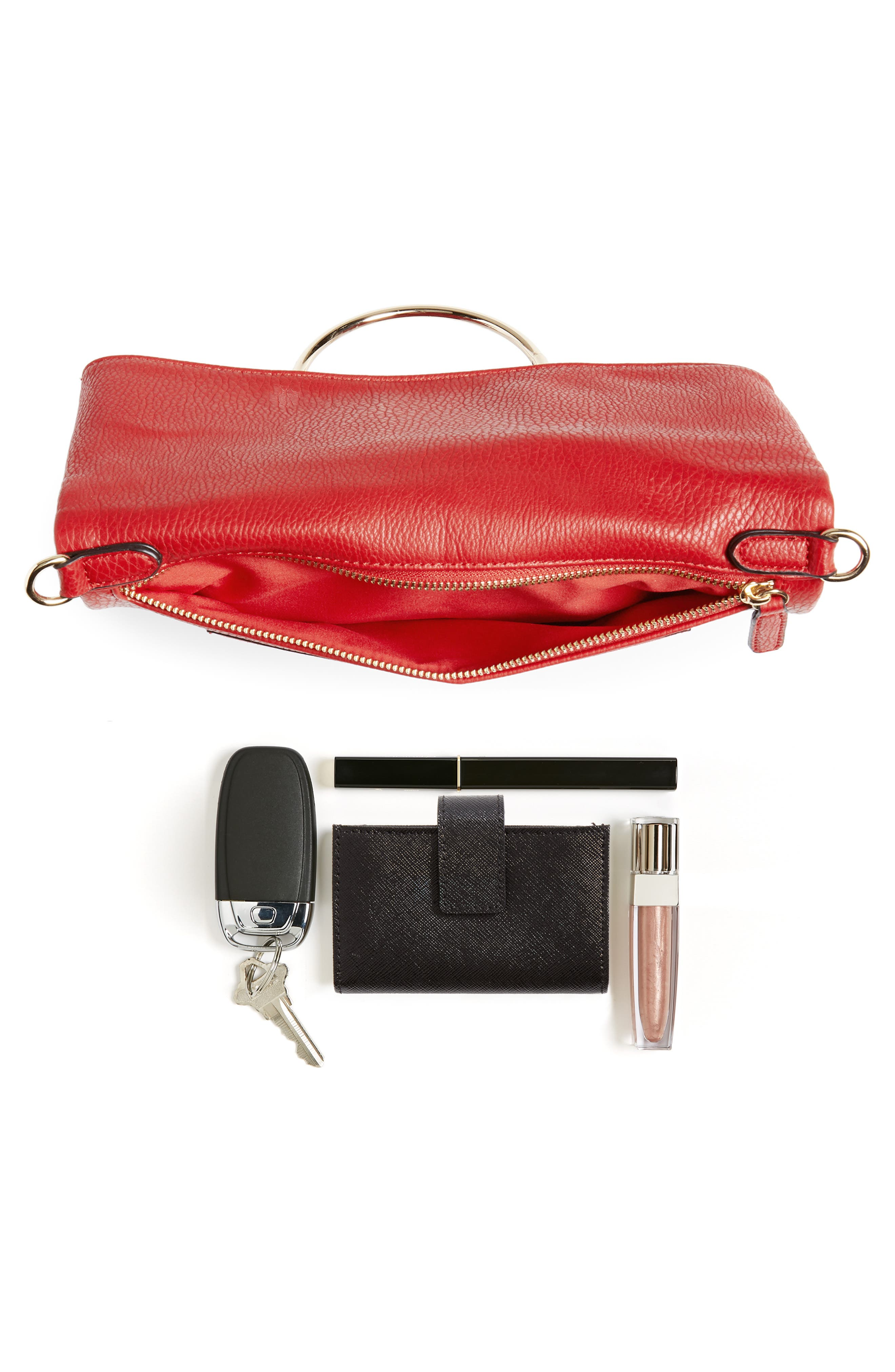 Foldover Ring Clutch,                             Alternate thumbnail 7, color,                             RED