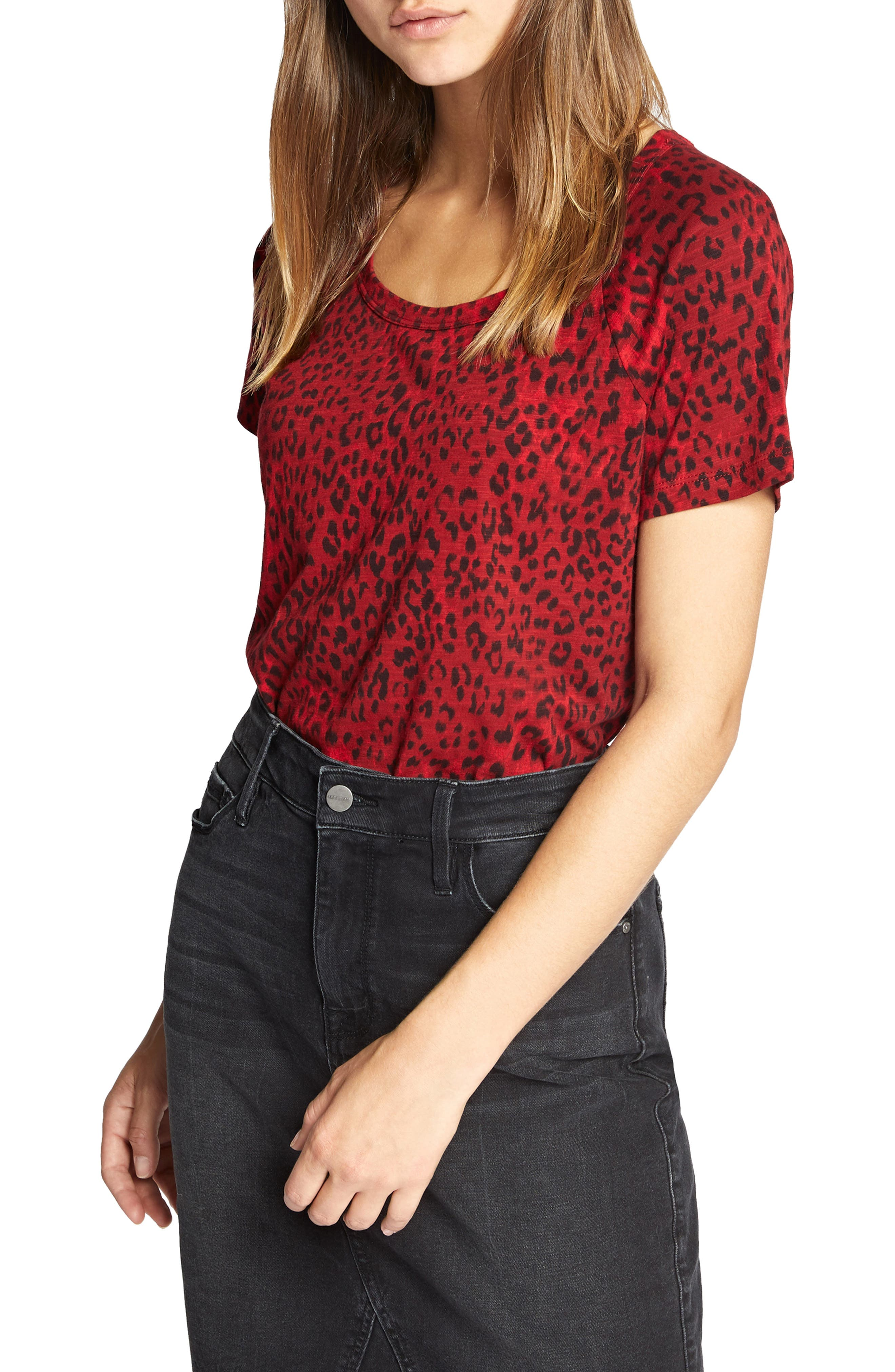 Animal Print Tee,                             Main thumbnail 1, color,                             RED LEOPARD