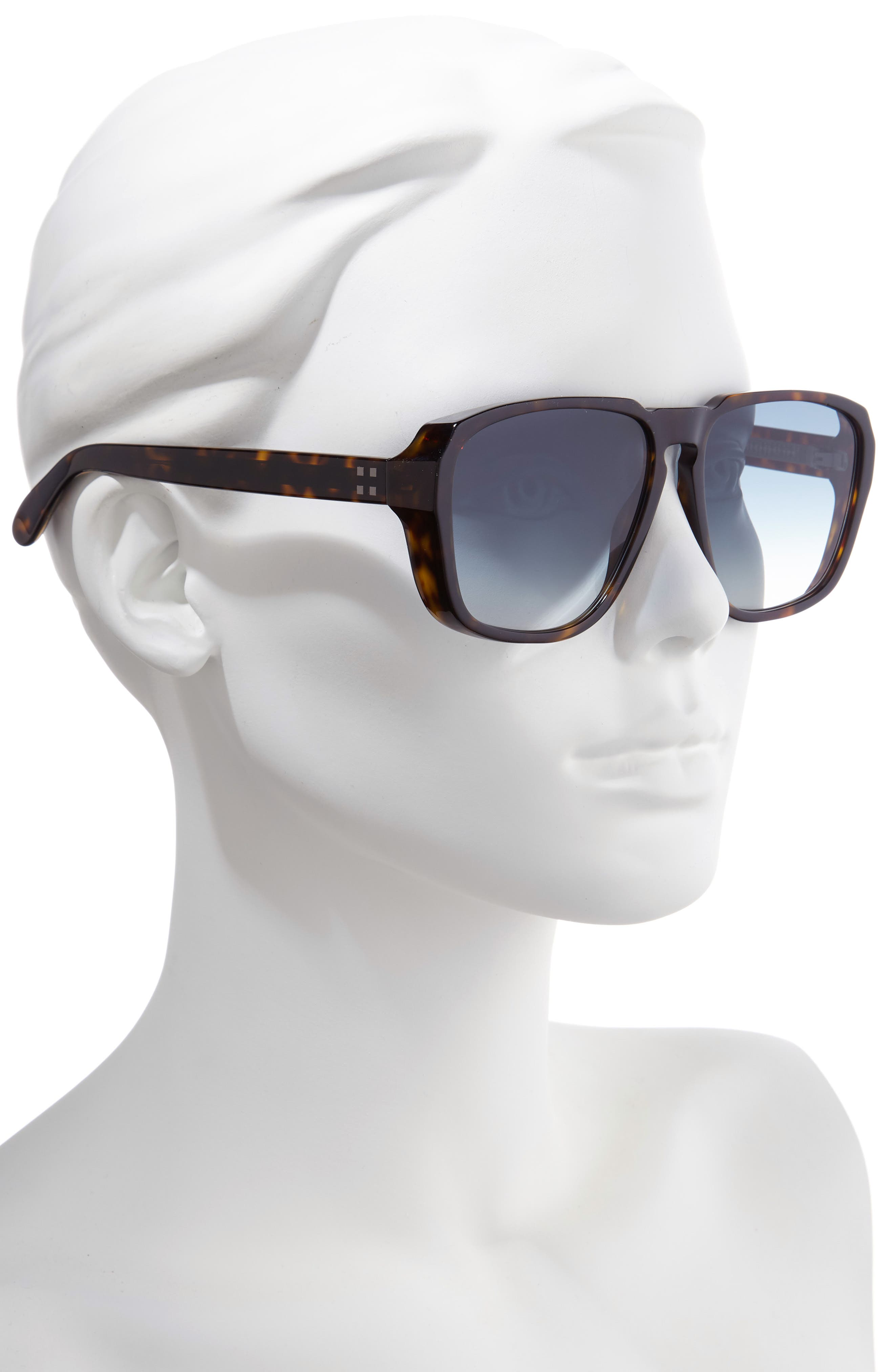 60mm Flat Top Sunglasses,                             Alternate thumbnail 2, color,                             DARK HAVANA