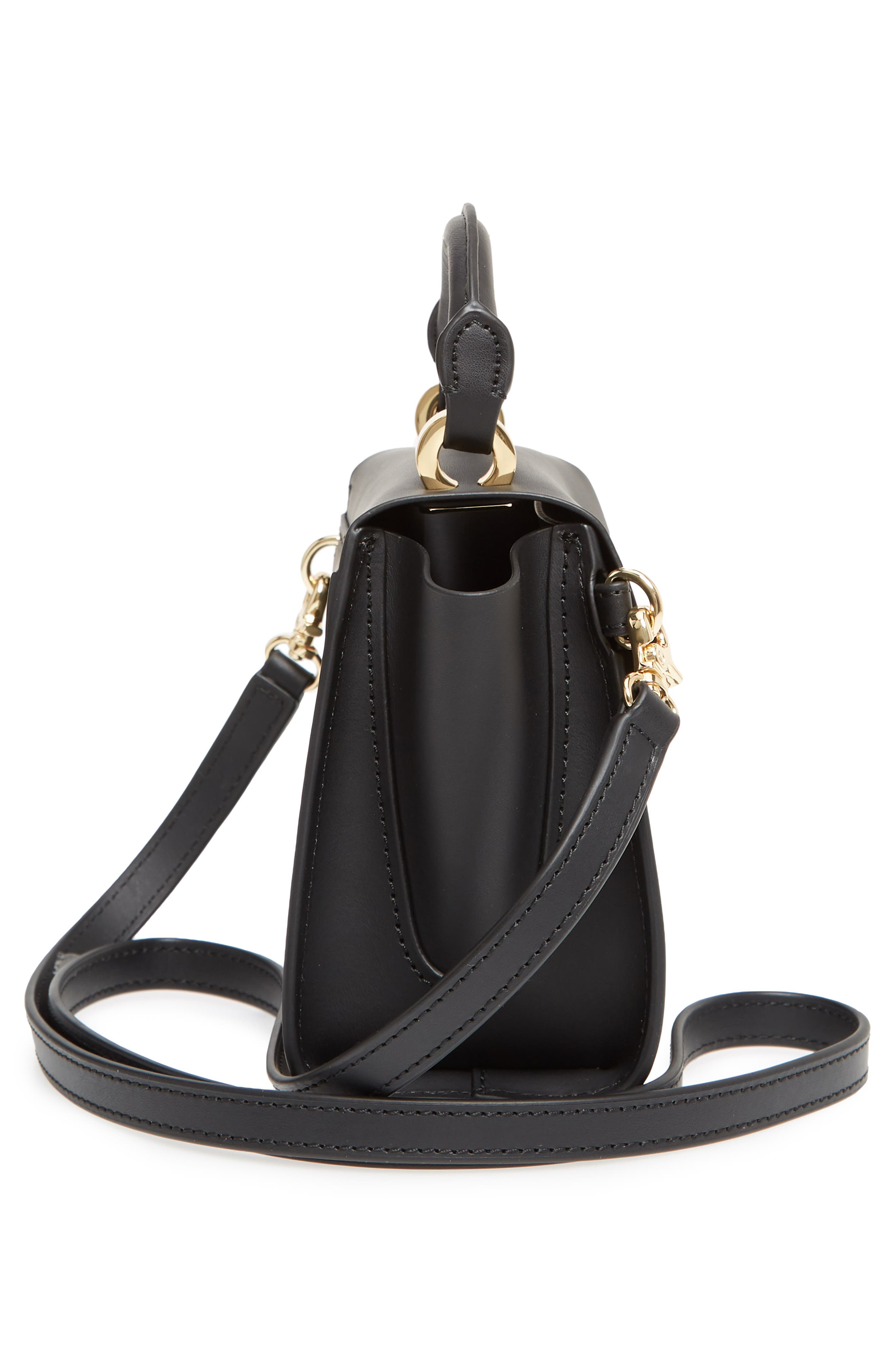 Mini Eartha Iconic Calfskin Leather Top Handle Satchel,                             Alternate thumbnail 5, color,                             BLACK