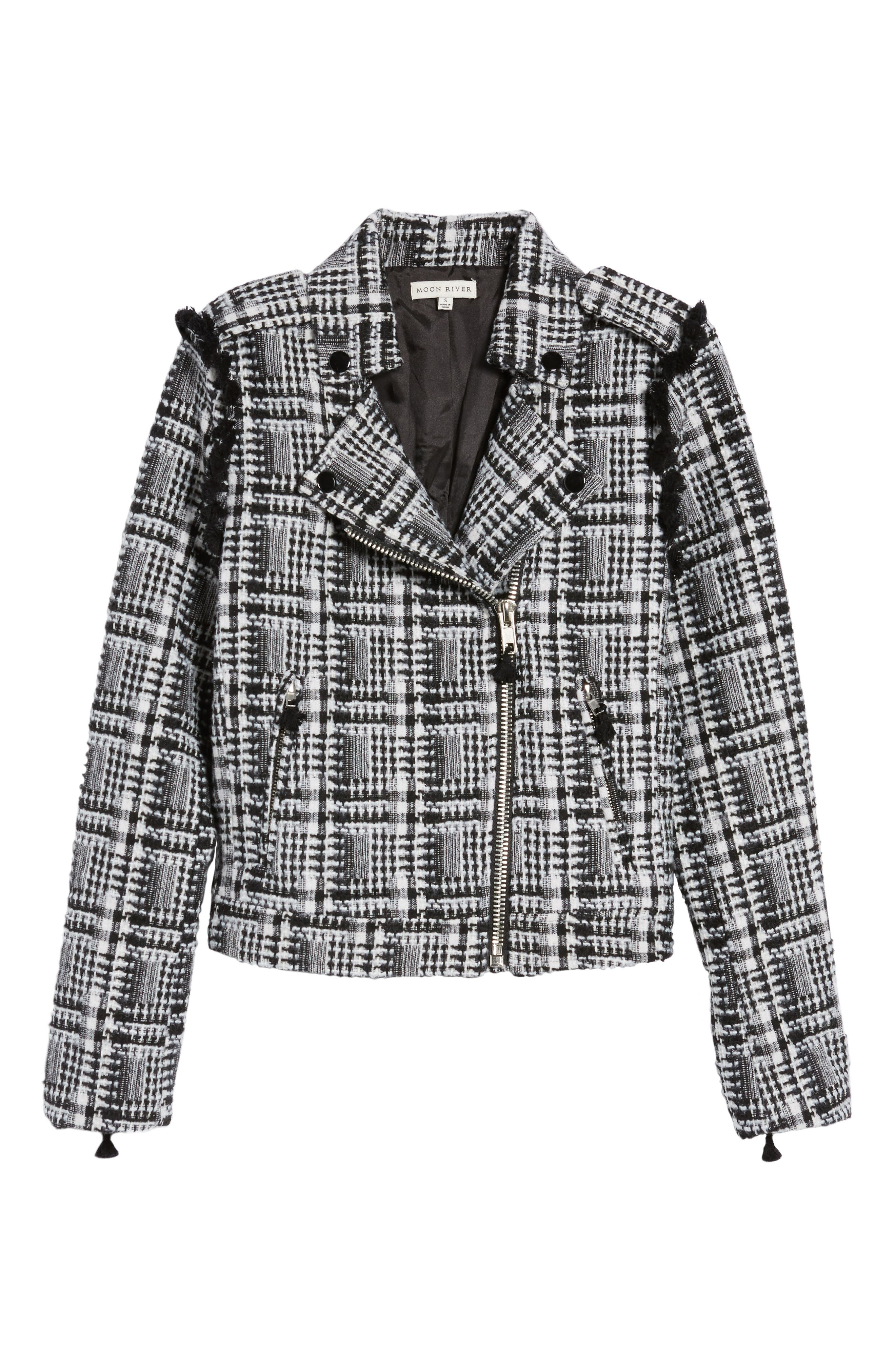 Tweed Moto Jacket,                             Alternate thumbnail 5, color,                             002