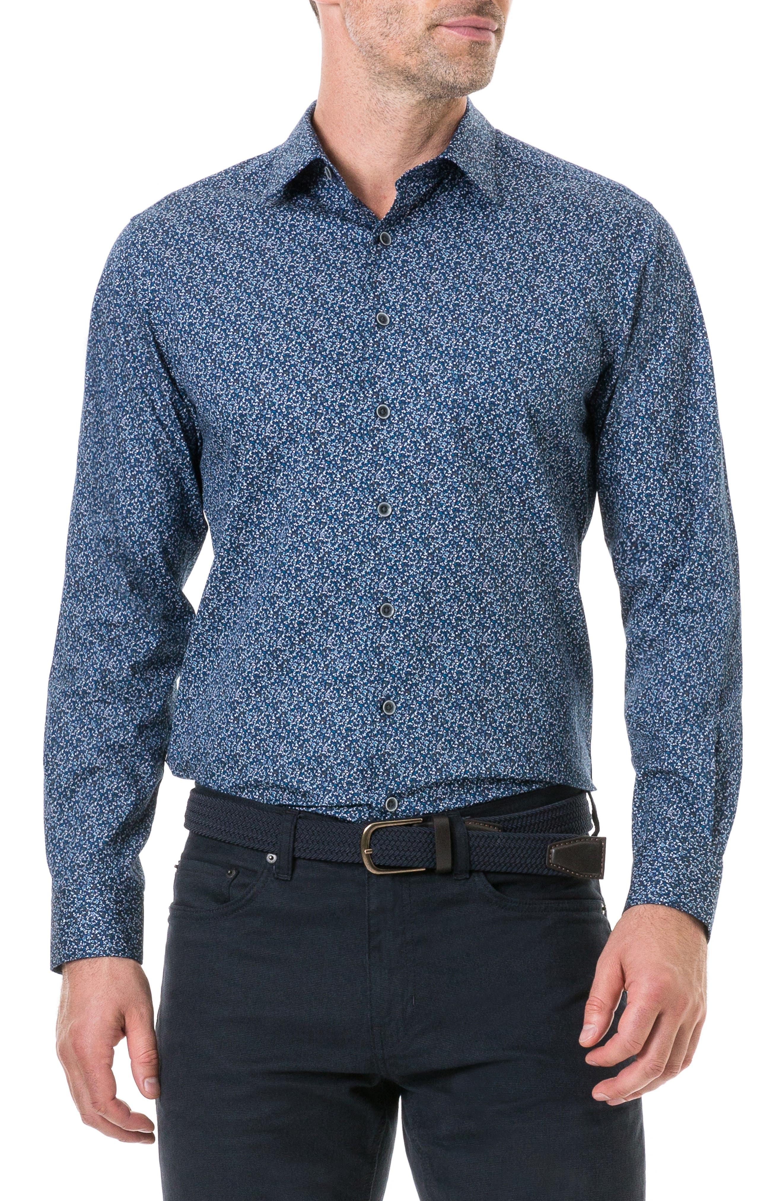 Scotland Street Regular Fit Floral Sport Shirt,                         Main,                         color, NAVY