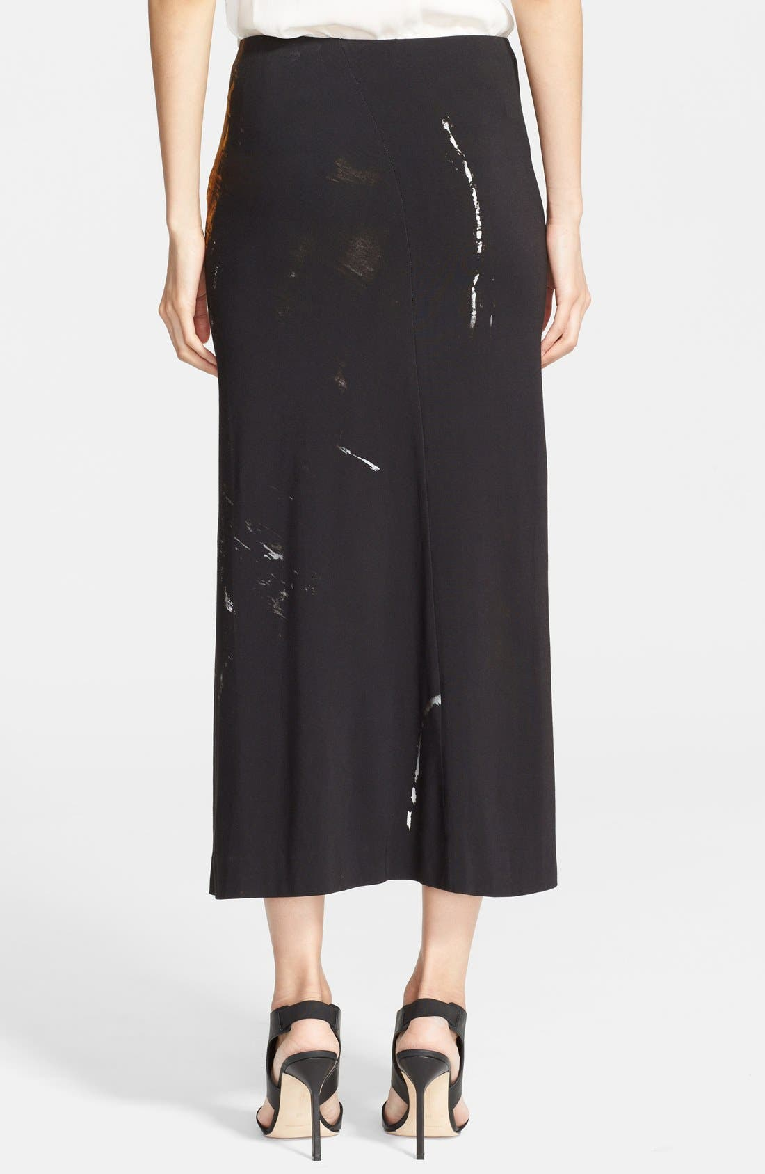 Donna Karan Collection 'Raku Brushstroke' Jersey Skirt,                             Alternate thumbnail 3, color,                             019