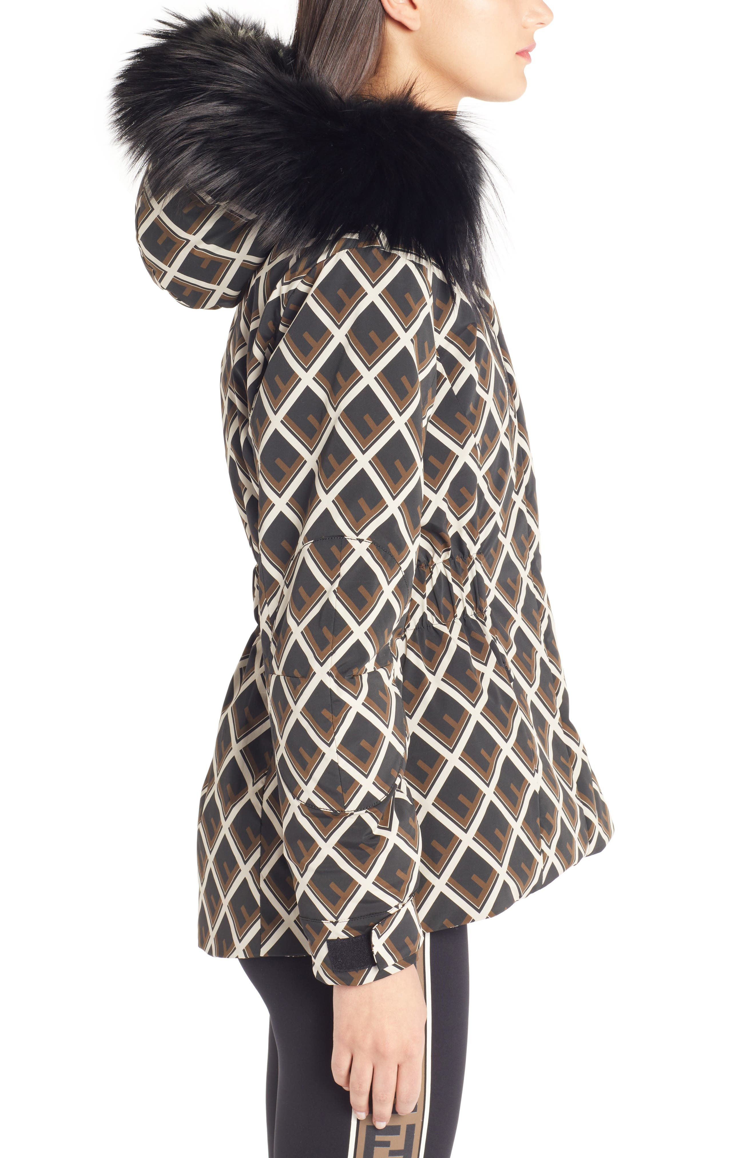 FENDI,                             Deco-F Technical Coat with Genuine Fox Fur Trim,                             Alternate thumbnail 3, color,                             BLACK