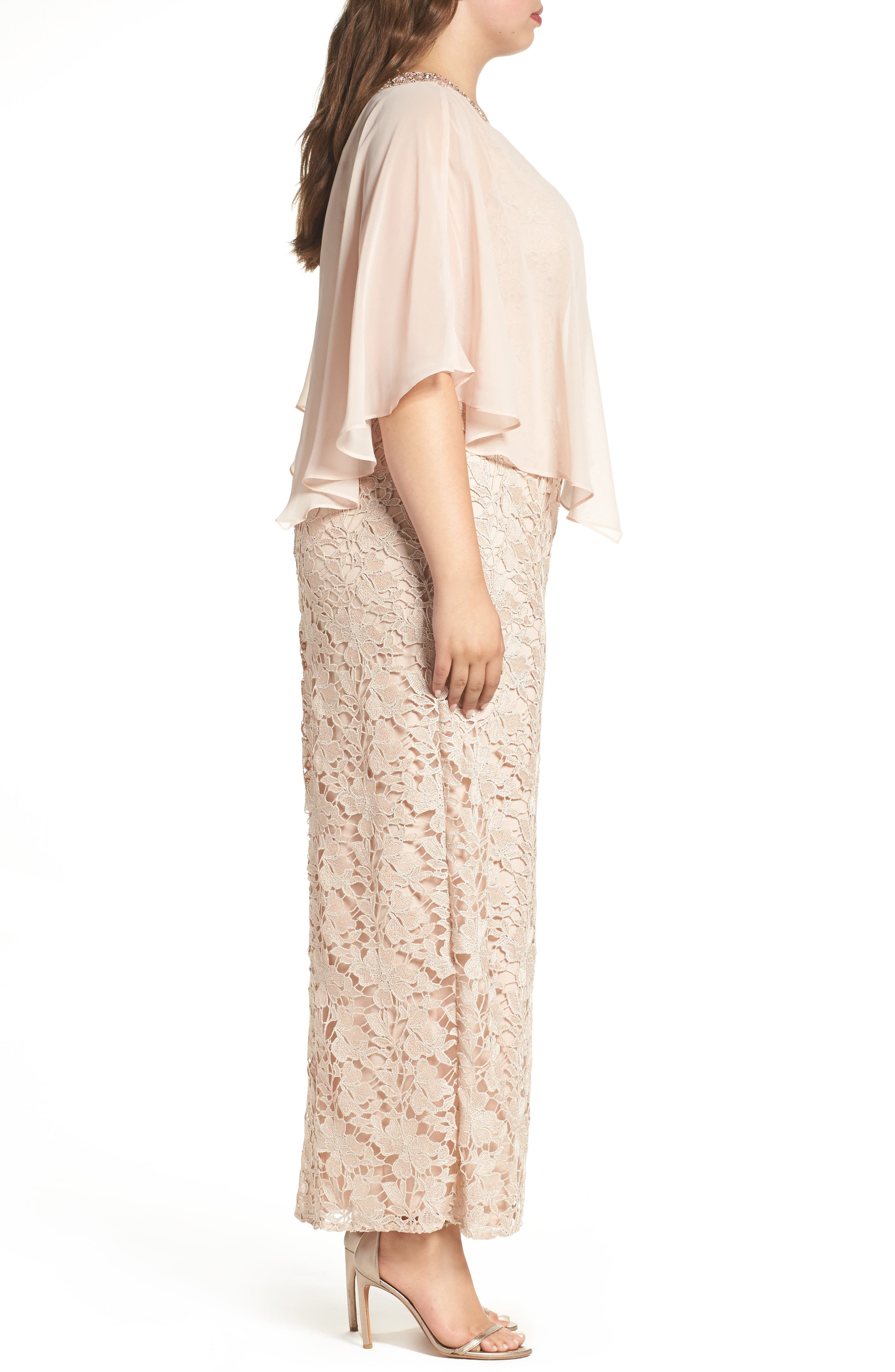 Poncho Over Floral Lace Dress,                             Alternate thumbnail 3, color,                             682