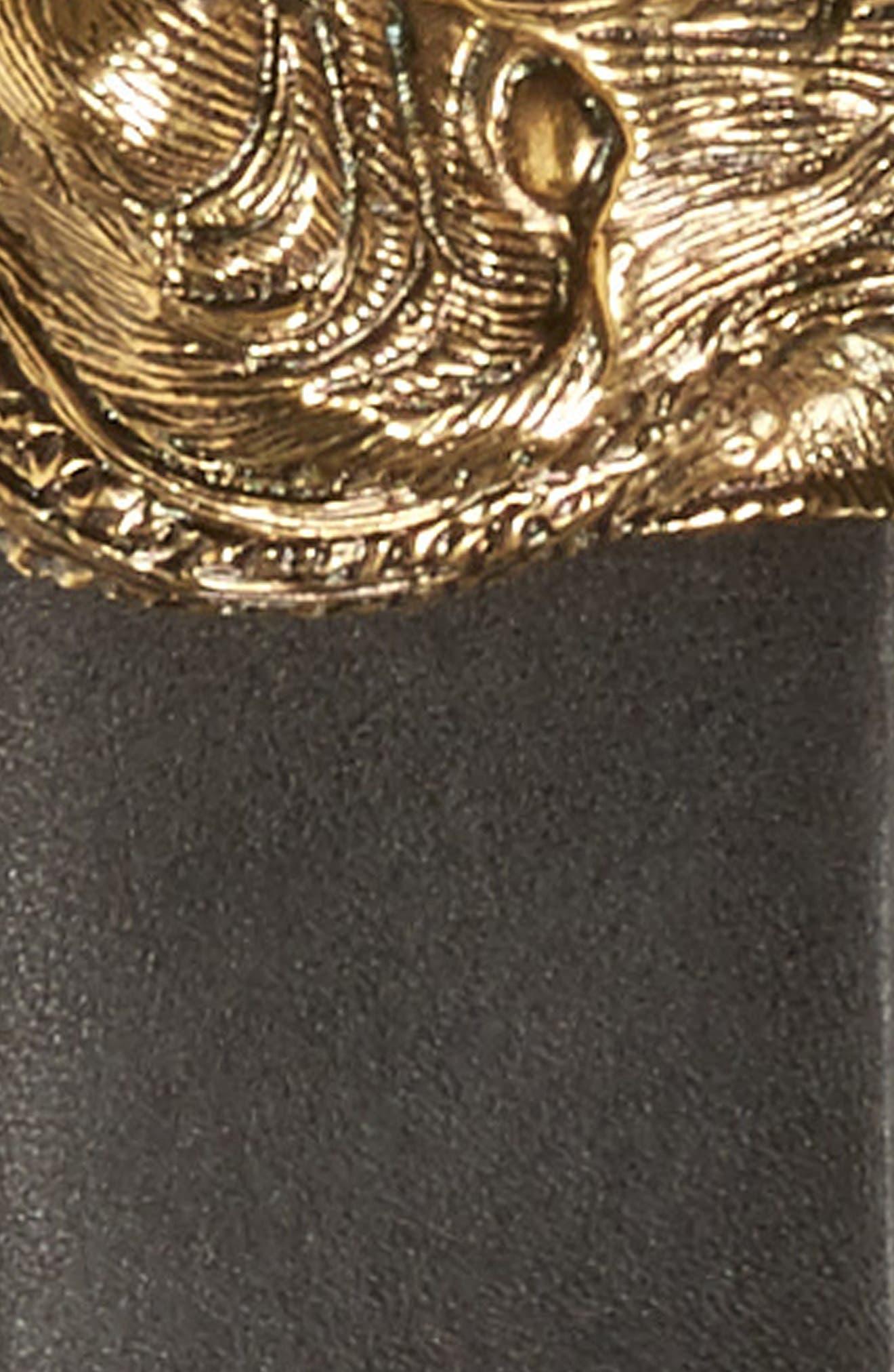 GUCCI,                             Tiger Buckle Leather Belt,                             Alternate thumbnail 3, color,                             001