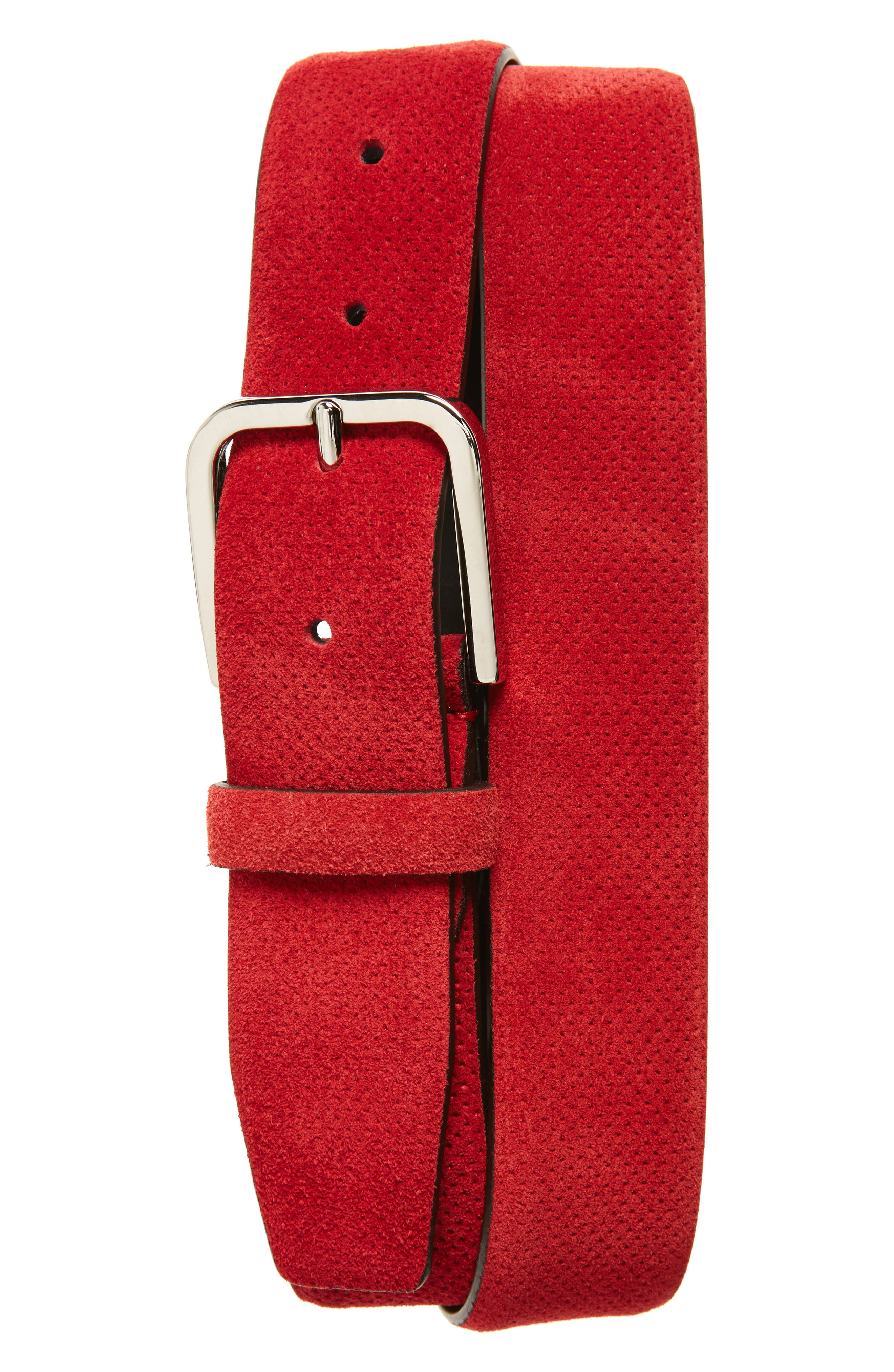Perforated Suede Belt,                         Main,                         color, 600