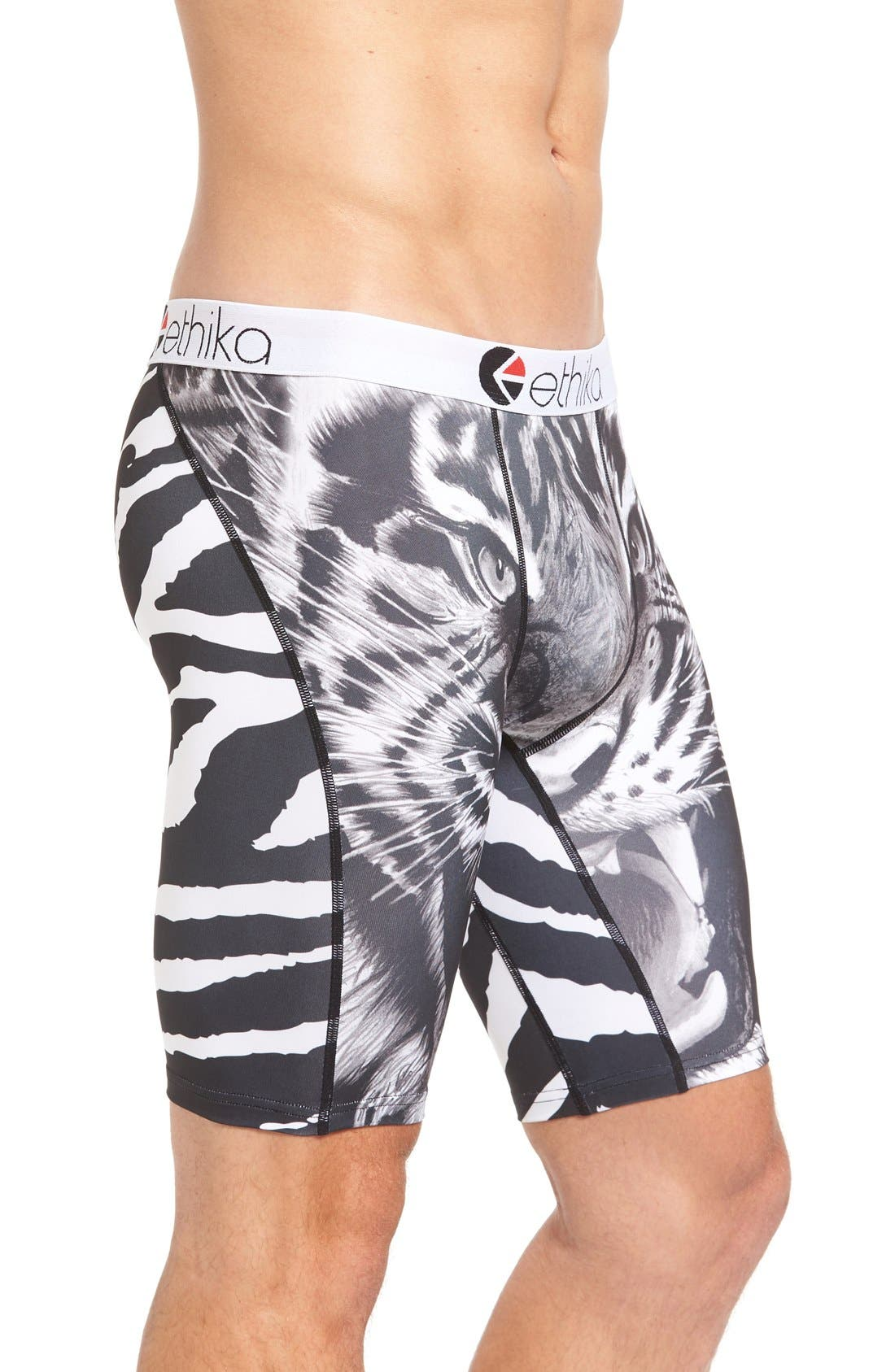 Tiger Face Stretch Boxer Briefs,                             Alternate thumbnail 3, color,                             002