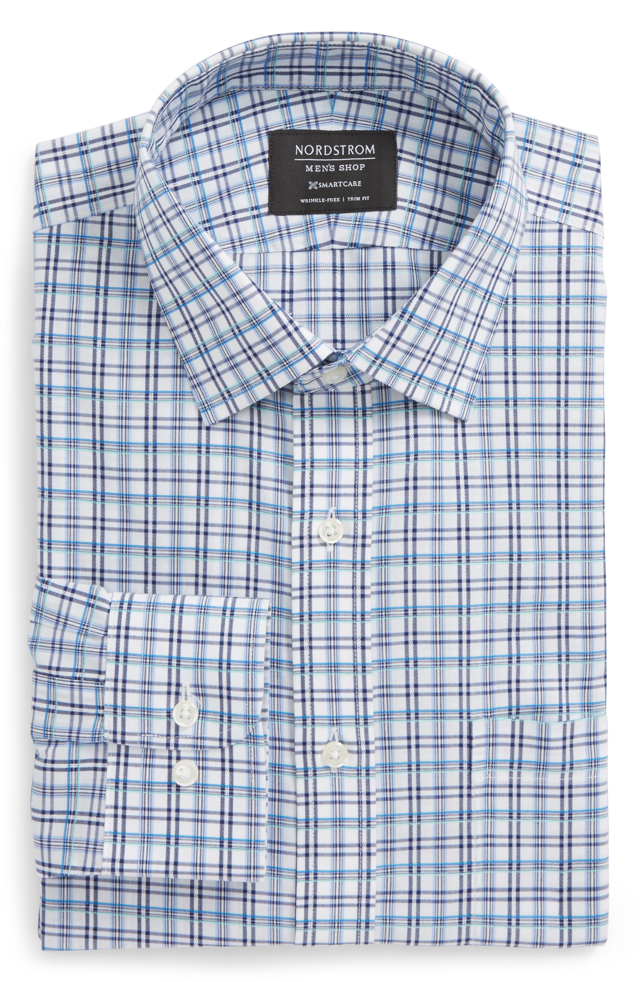 Smartcare<sup>™</sup> Trim Fit Plaid Dress Shirt,                             Main thumbnail 1, color,                             401