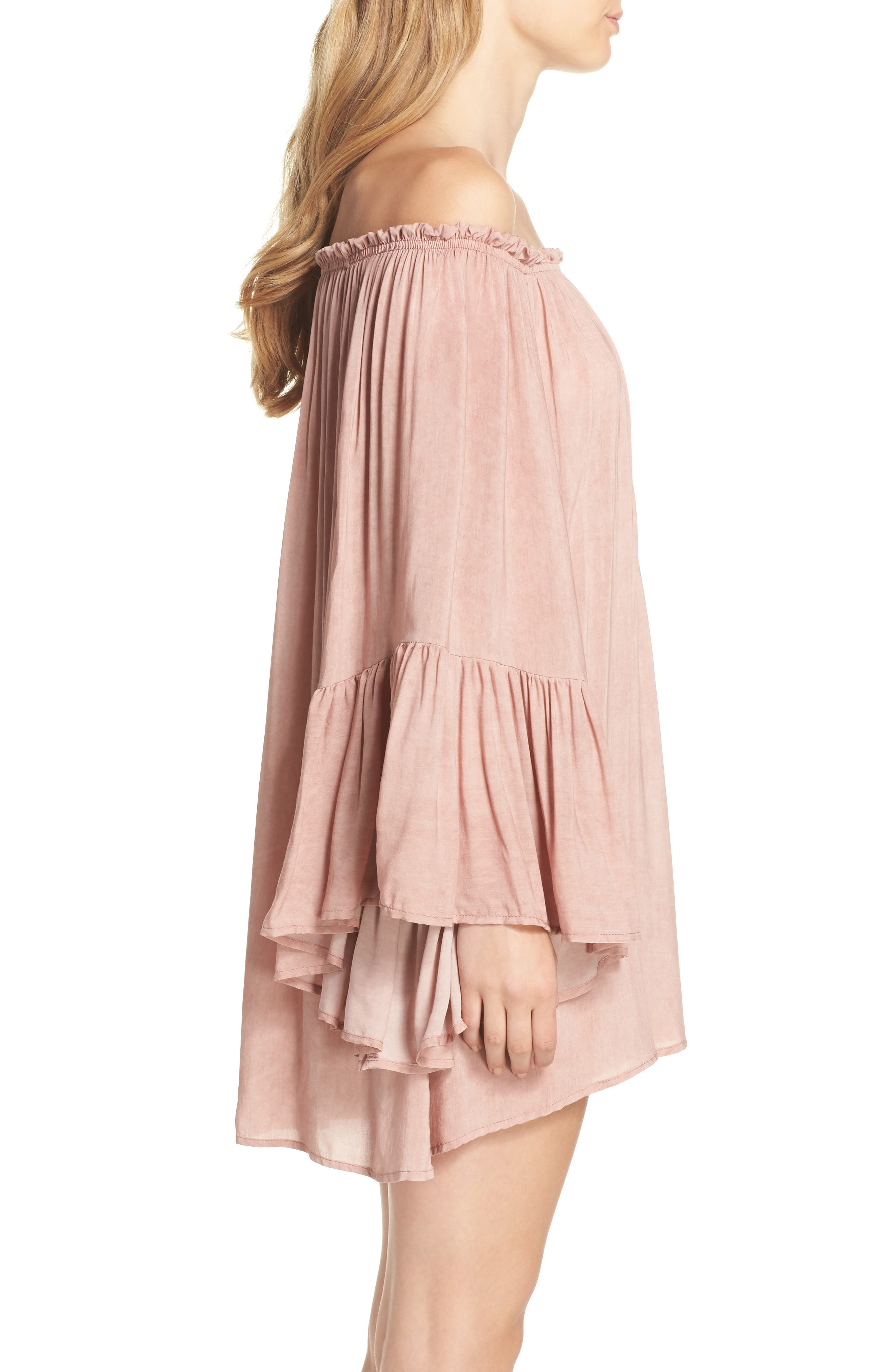 Bell Sleeve Cover-Up Tunic Dress,                             Alternate thumbnail 3, color,                             663