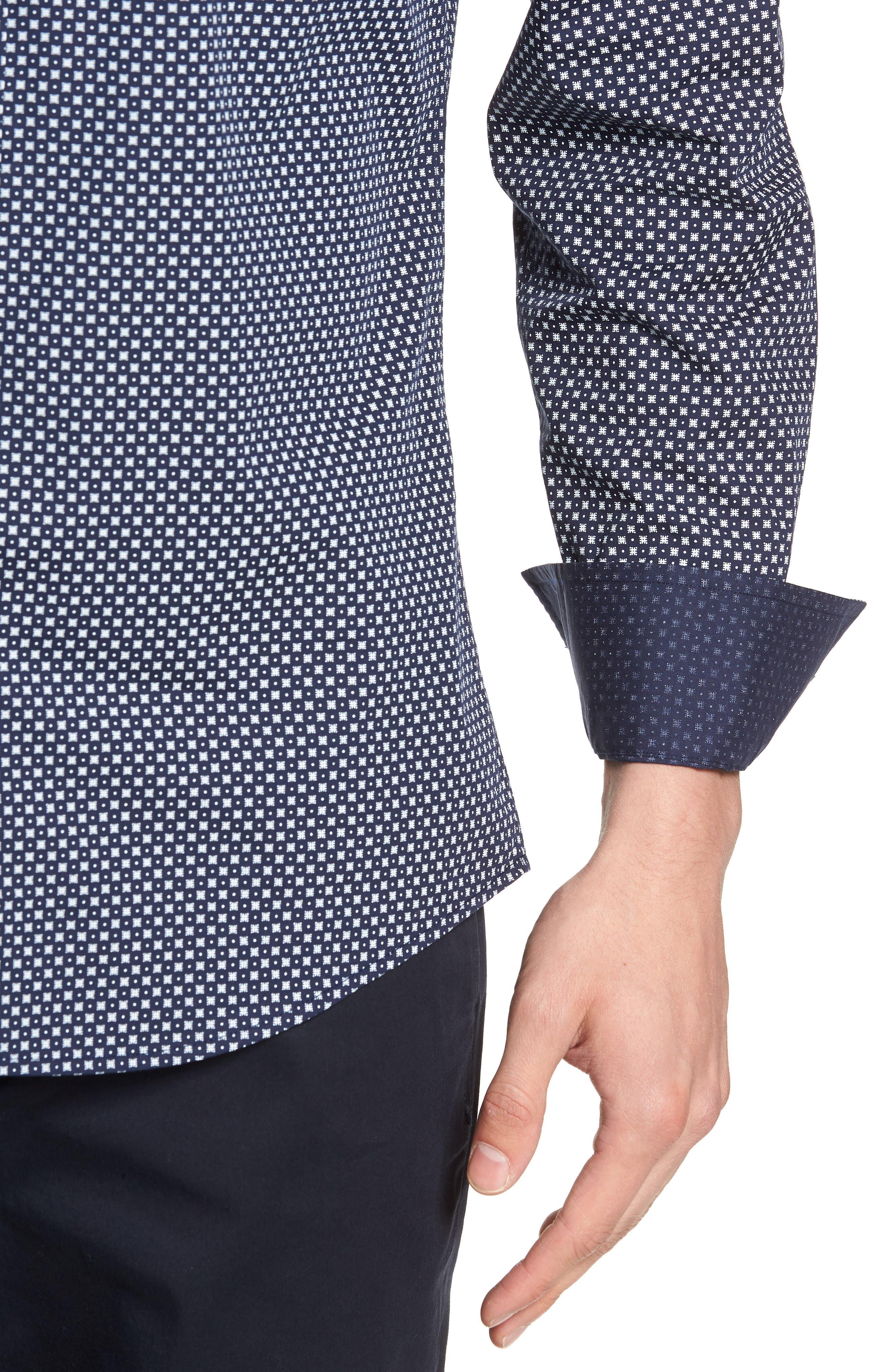 Regular Fit Geometric Dot Sport Shirt,                             Alternate thumbnail 2, color,                             NAVY/ WHITE POPLIN PRINT