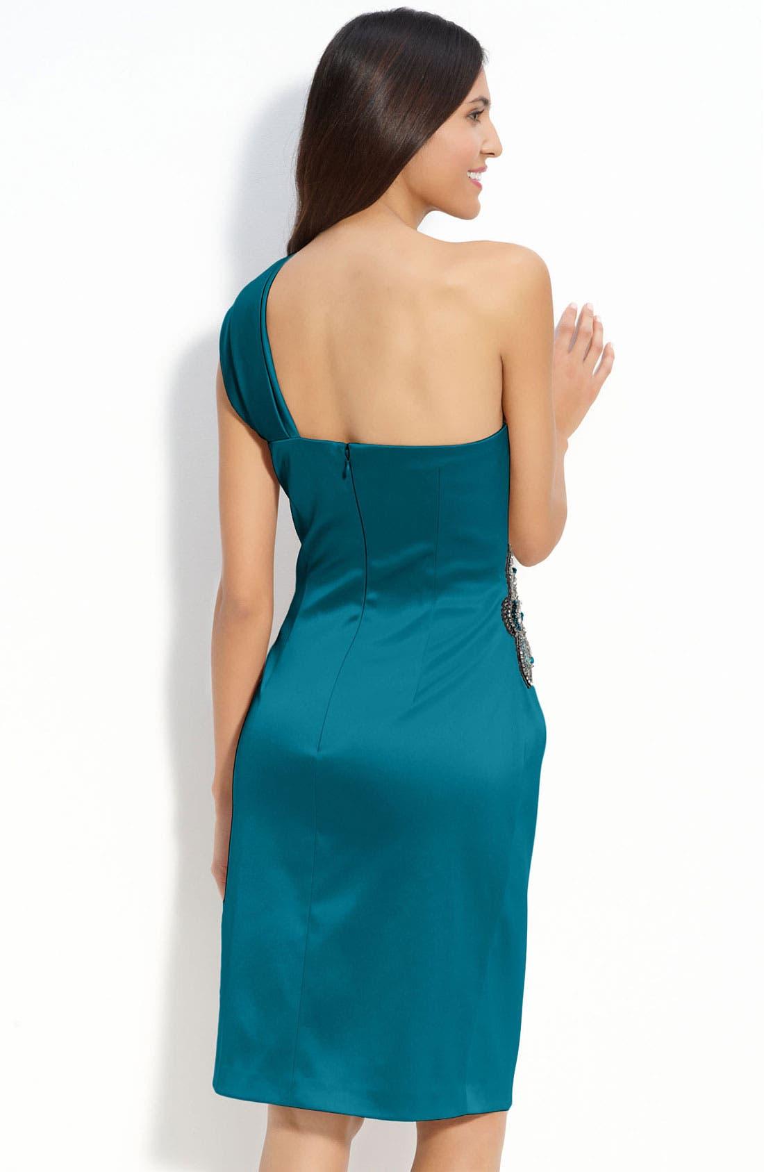 Beaded One-Shoulder Satin Dress,                             Alternate thumbnail 11, color,