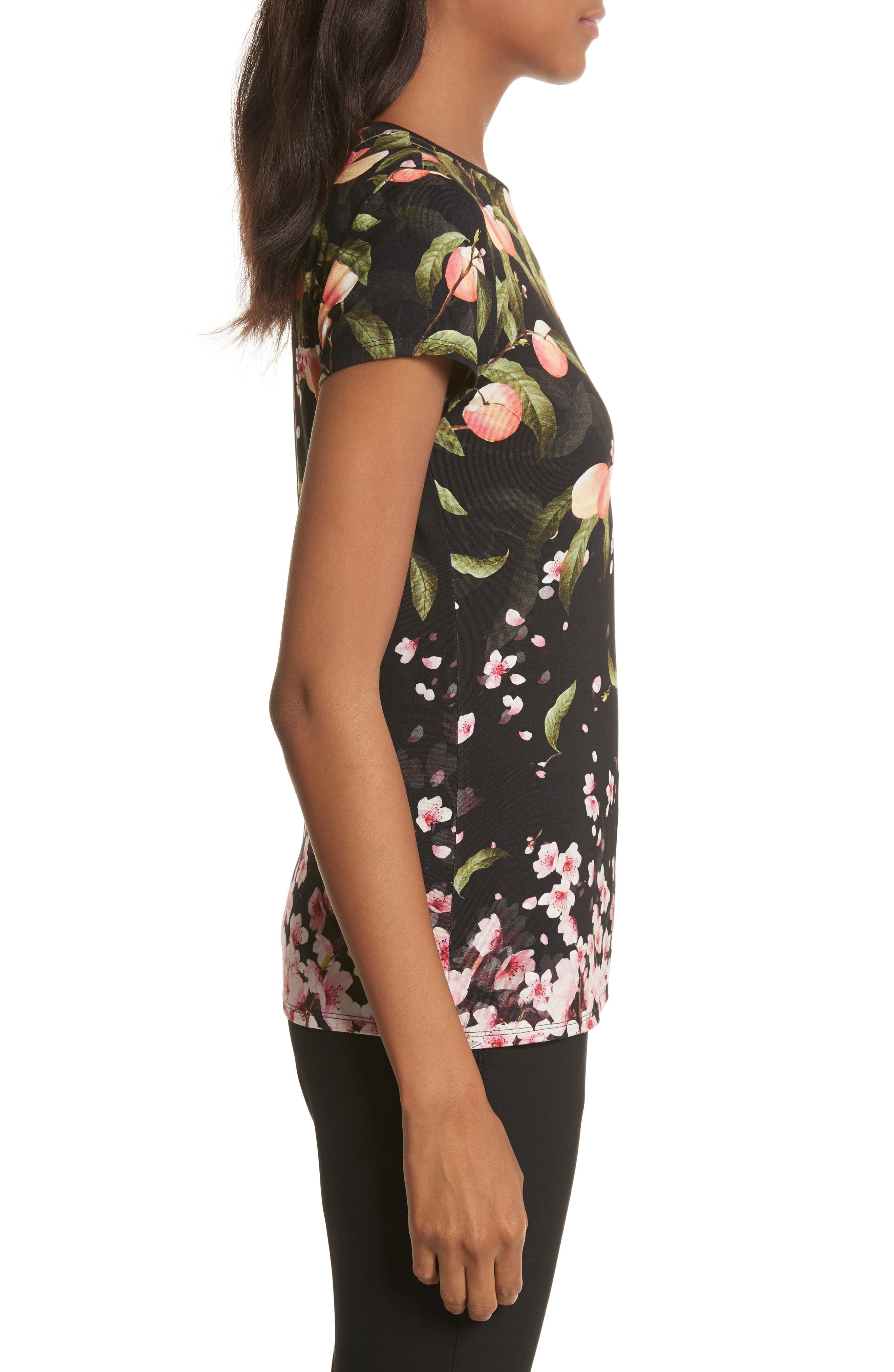 Peach Blossom Fitted Tee,                             Alternate thumbnail 3, color,                             001