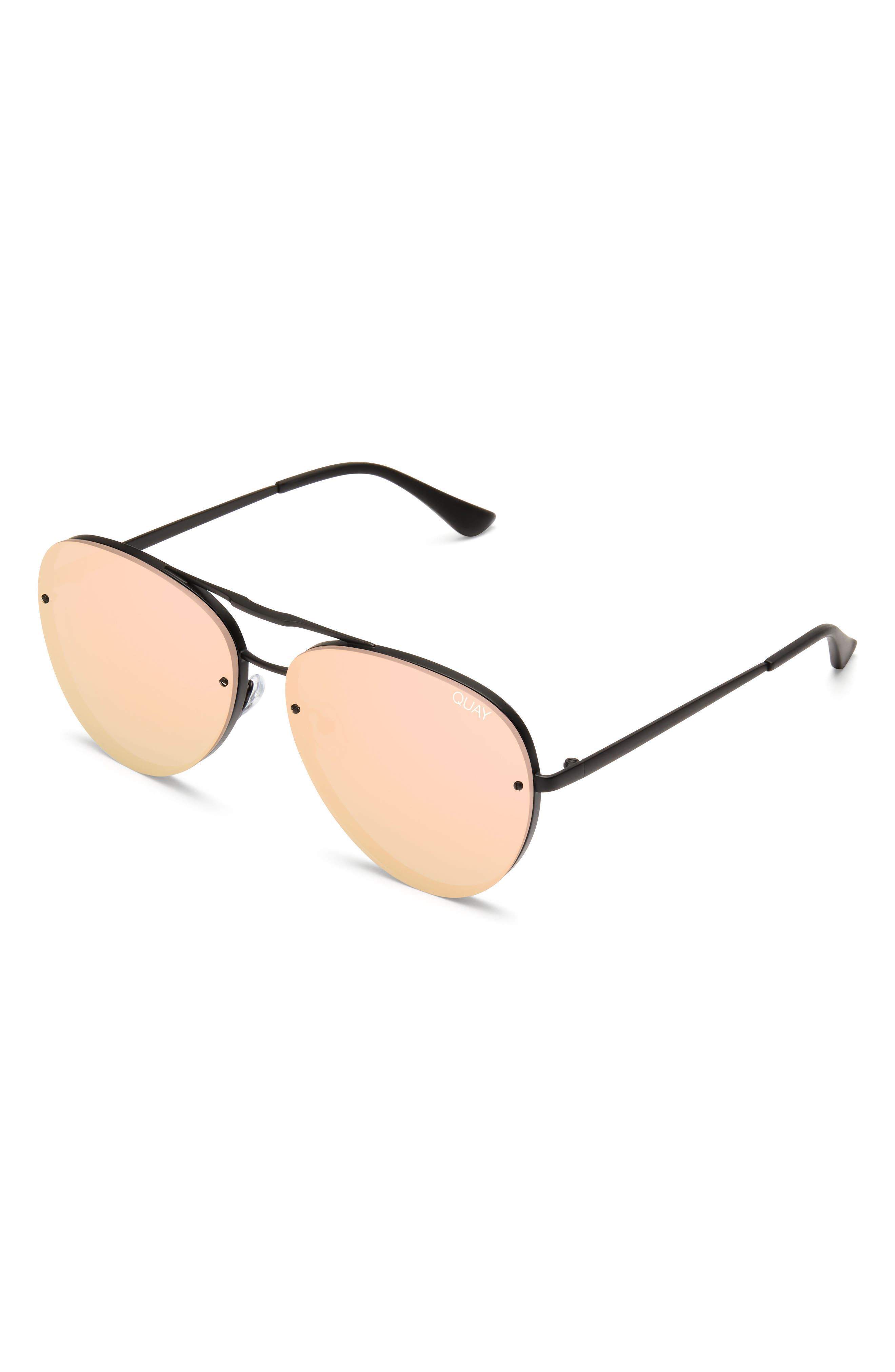 x Missguided Cool Innit 56mm Aviator Sunglasses,                             Alternate thumbnail 5, color,                             001