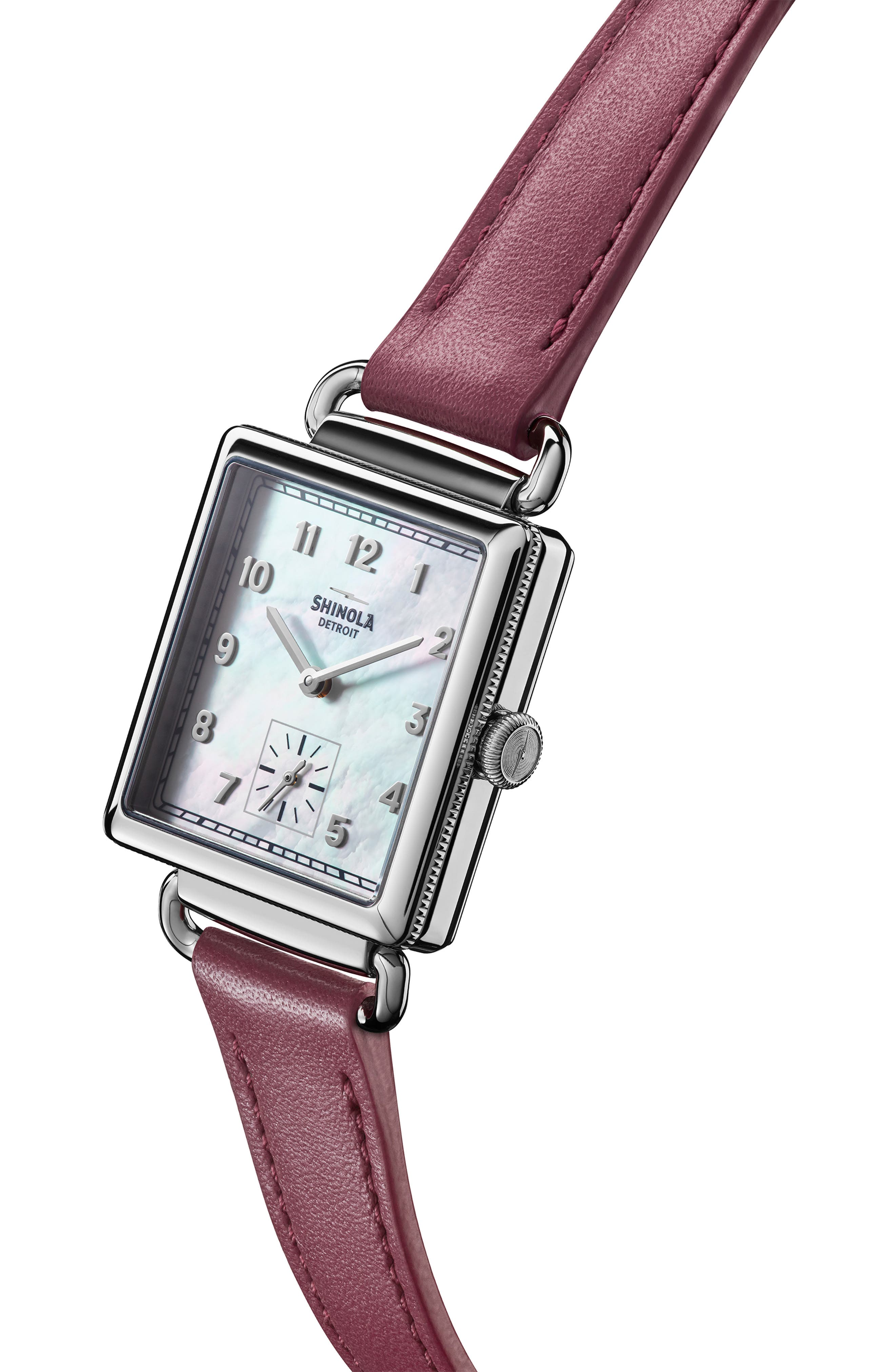 Cass Leather Strap Watch, 28mm,                             Alternate thumbnail 5, color,                             BERRY/ WHITE MOP/ SILVER