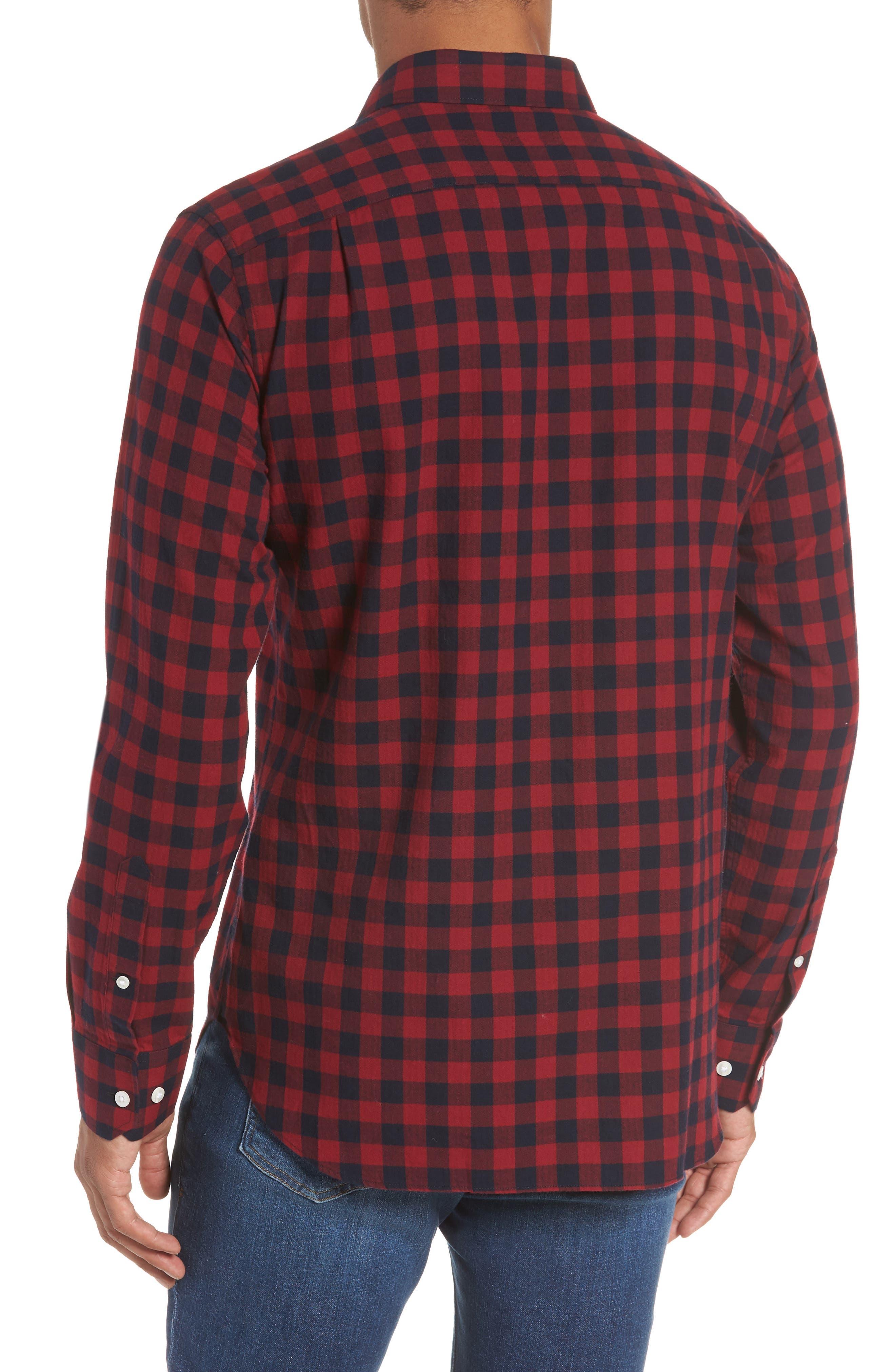 Unbutton Down Slim Fit Sport Shirt,                             Alternate thumbnail 2, color,                             GARNET