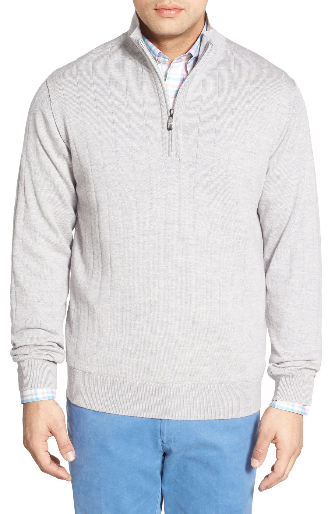 Windproof Merino Wool Quarter Zip Sweater,                             Main thumbnail 1, color,                             HEATHER GREY