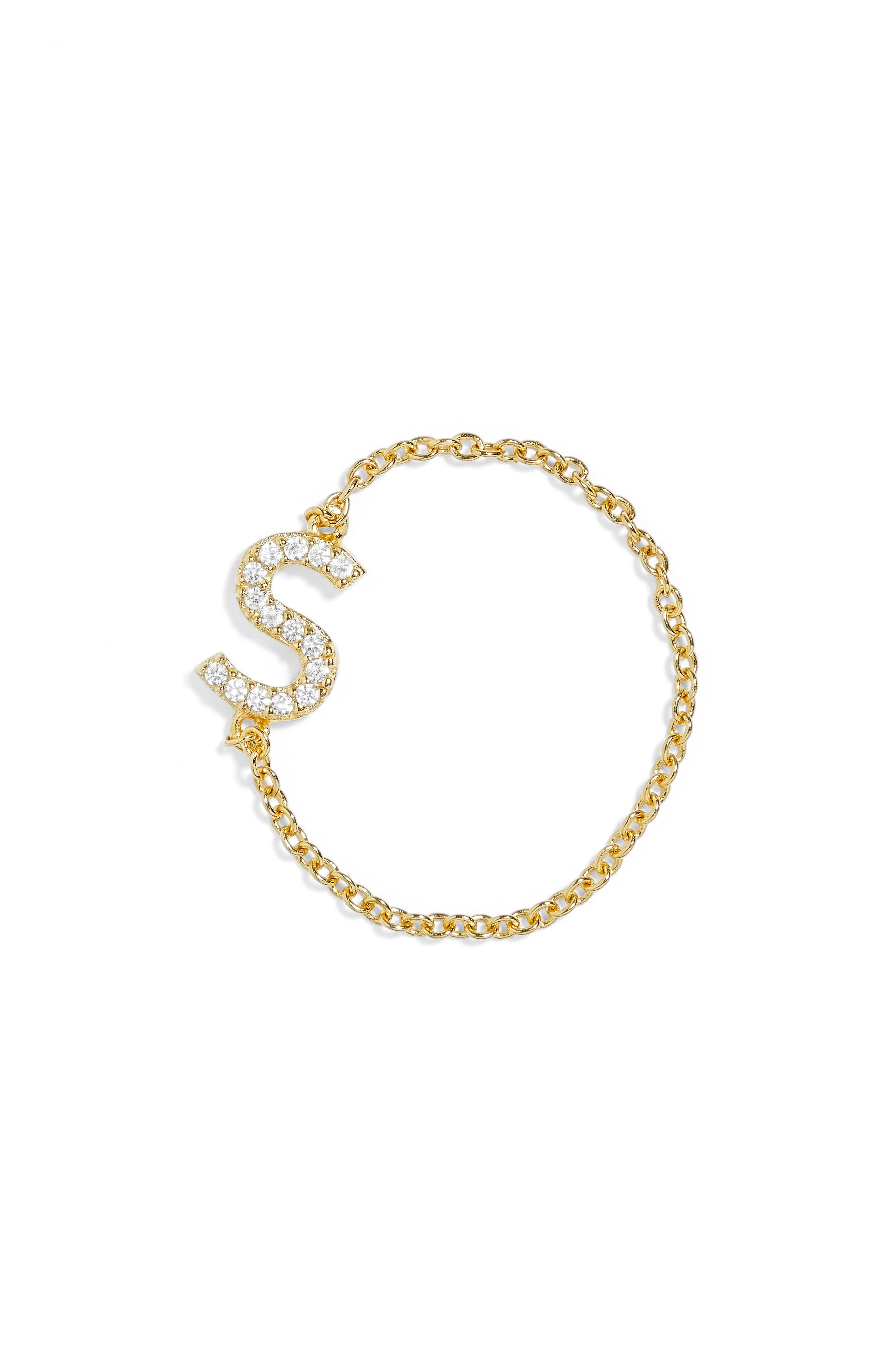 Nome Everyday Fine Crystal Initial Chain Ring,                             Main thumbnail 6, color,