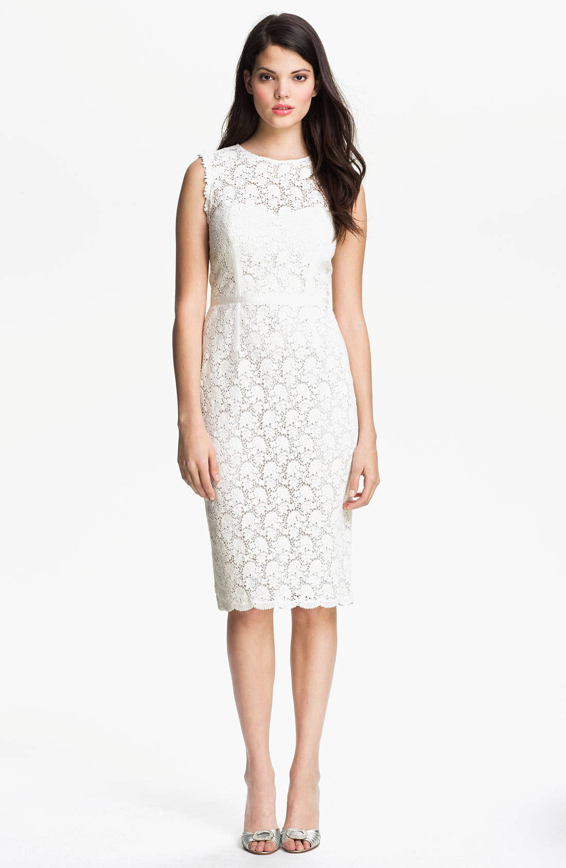 Illusion Yoke Lace Sheath Dress,                             Alternate thumbnail 8, color,