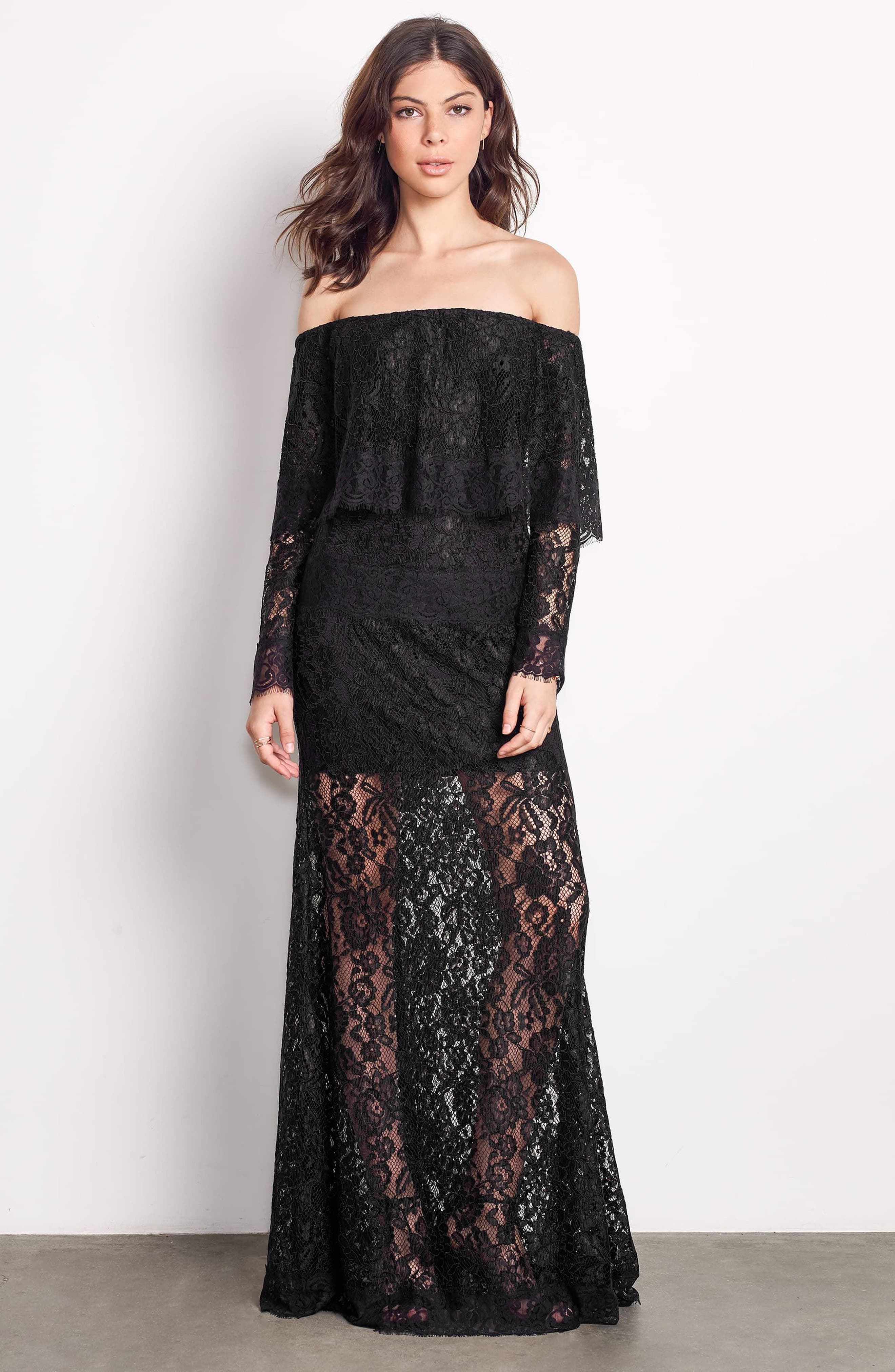 Soiree Lace Off the Shoulder Gown,                             Alternate thumbnail 7, color,                             001