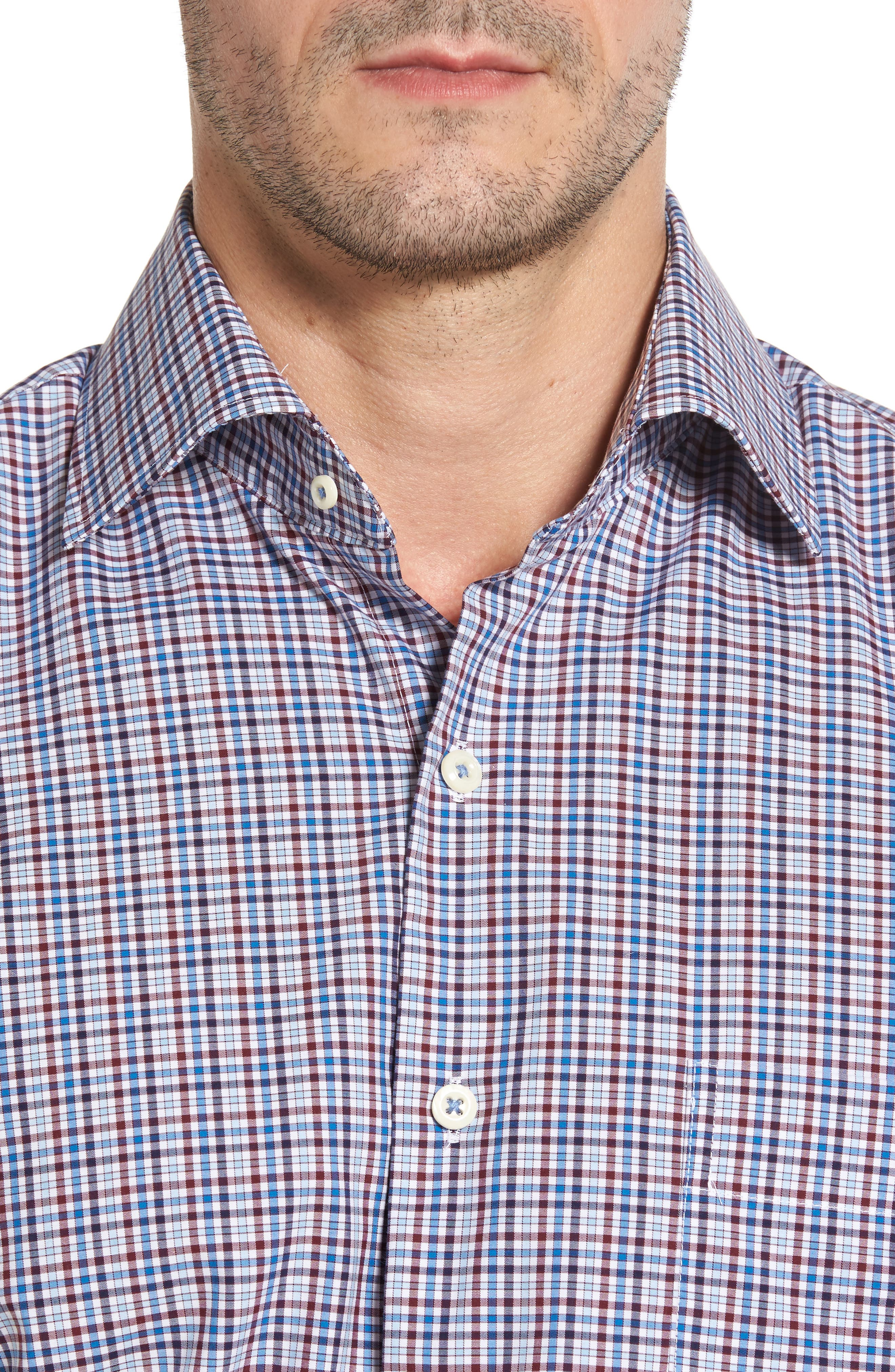 Crown Finish Vine Check Regular Fit Sport Shirt,                             Alternate thumbnail 4, color,