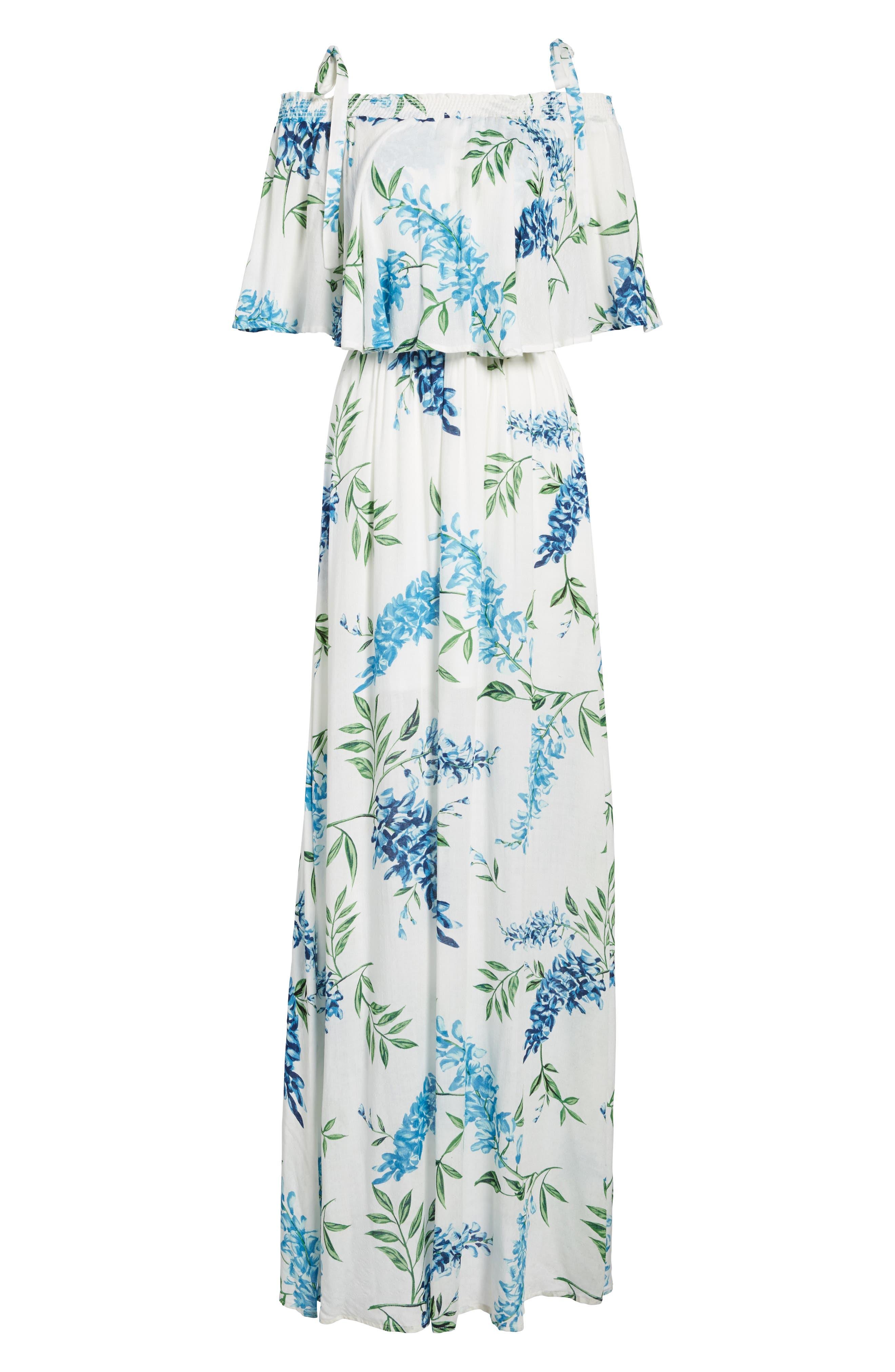 Nicola Ruffle Maxi Dress,                             Alternate thumbnail 6, color,                             400