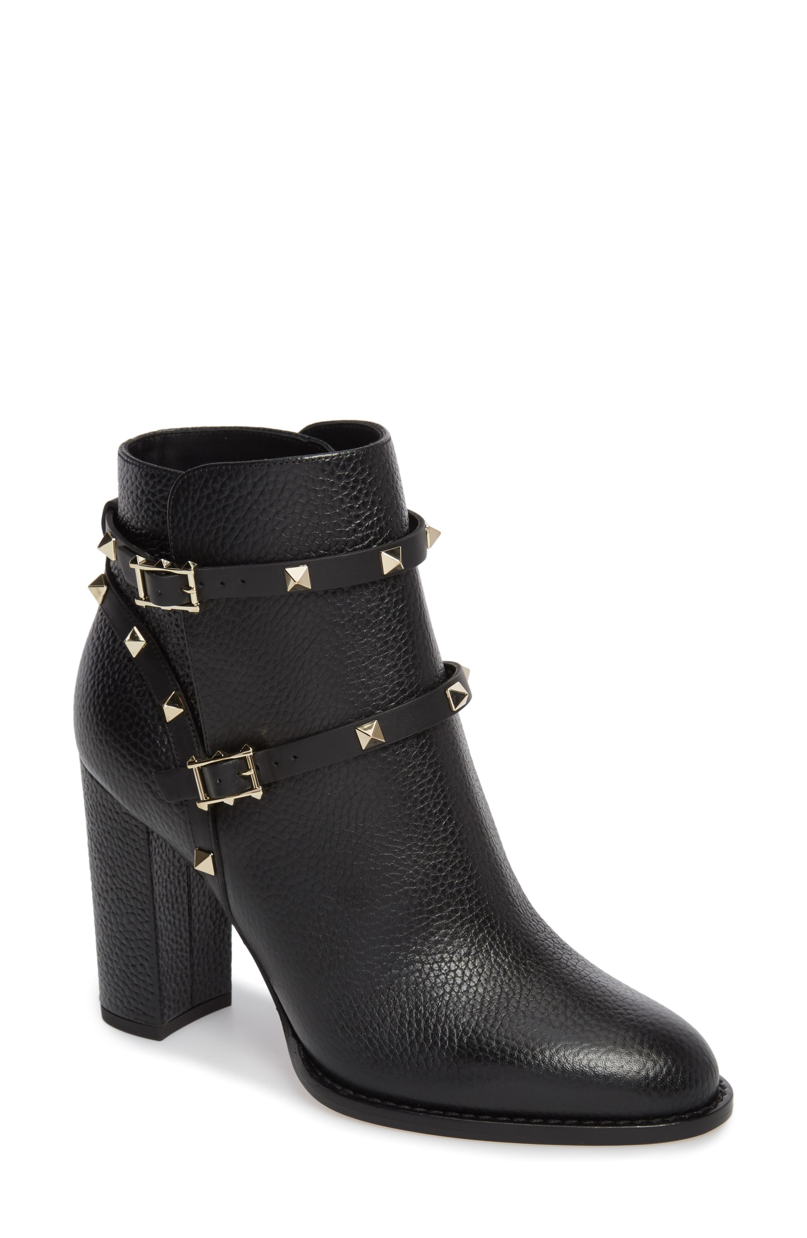 'Rockstud' Block Heel Bootie,                             Main thumbnail 1, color,                             BLACK
