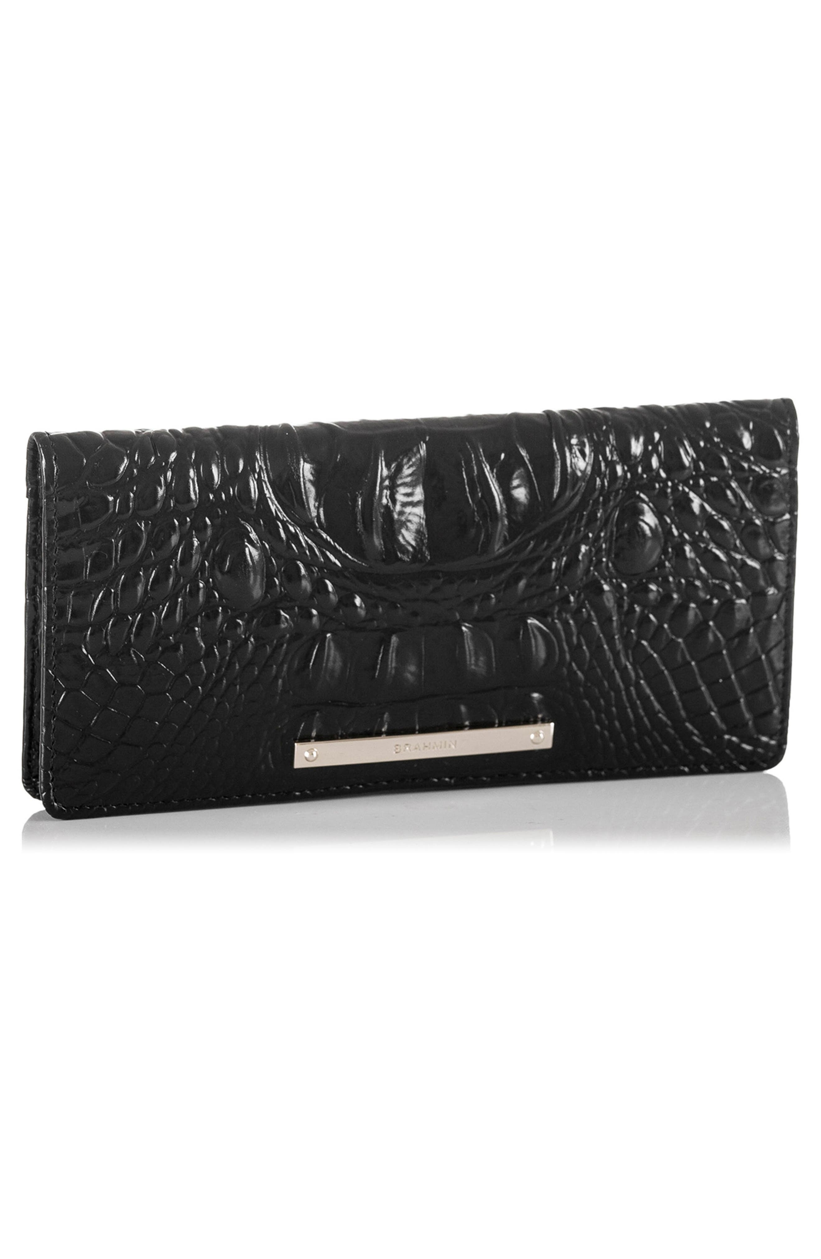 'Ady' Croc Embossed Continental Wallet,                             Alternate thumbnail 5, color,                             BLACK