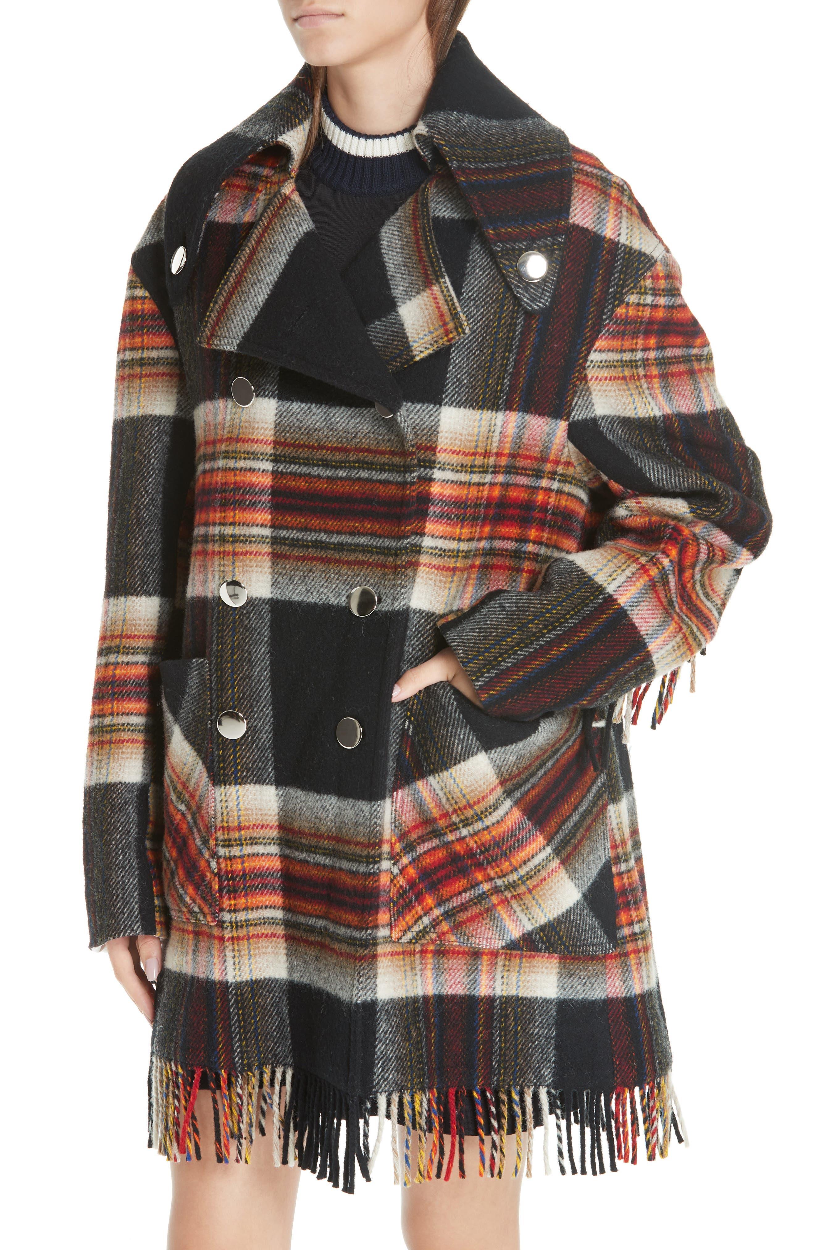 x Pendleton Fringe Plaid Blanket Coat,                             Alternate thumbnail 4, color,                             001