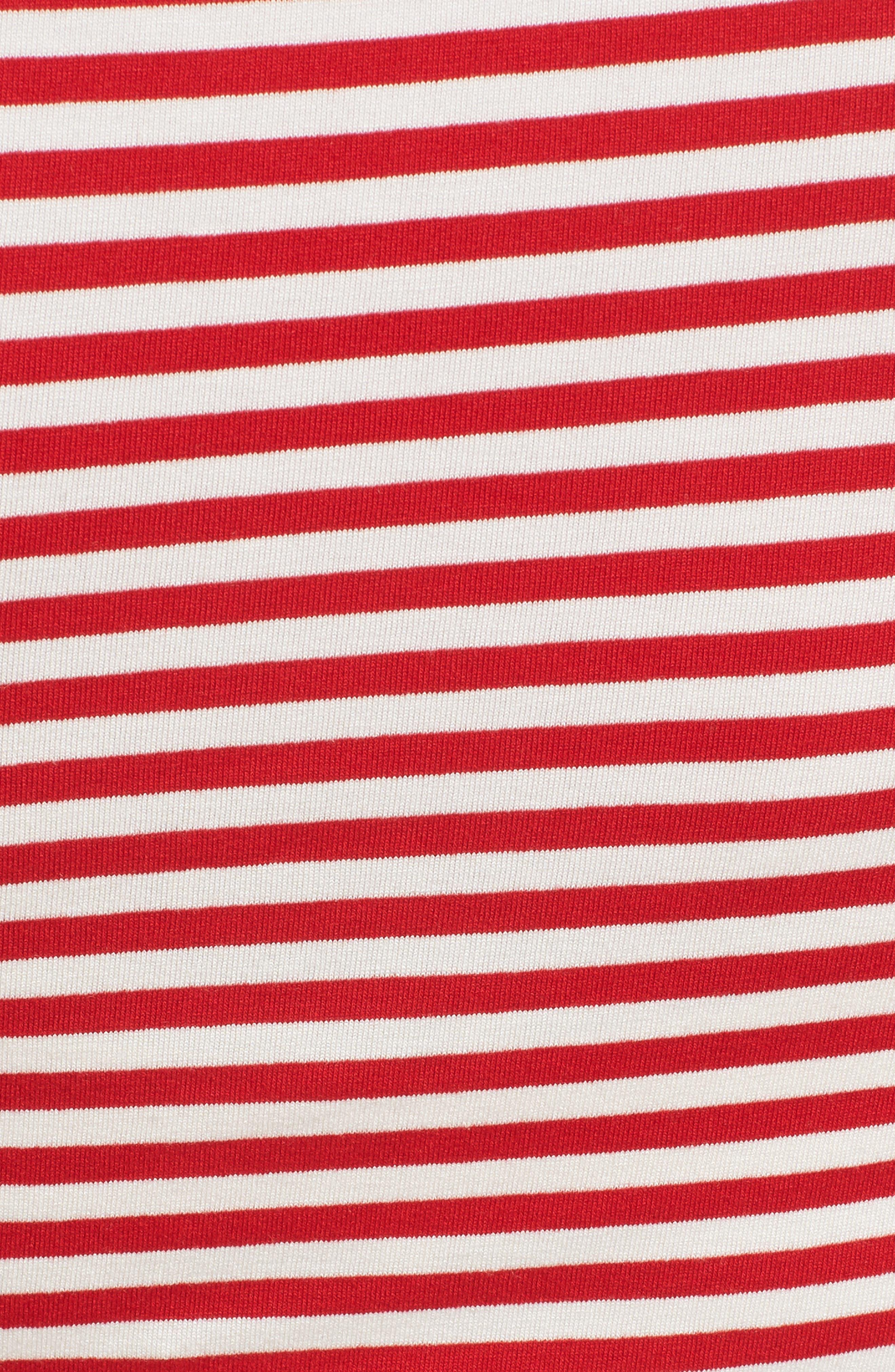 Jenna Stripe Maternity T-Shirt Dress,                             Alternate thumbnail 5, color,                             RED/OFF WHITE STRIPE