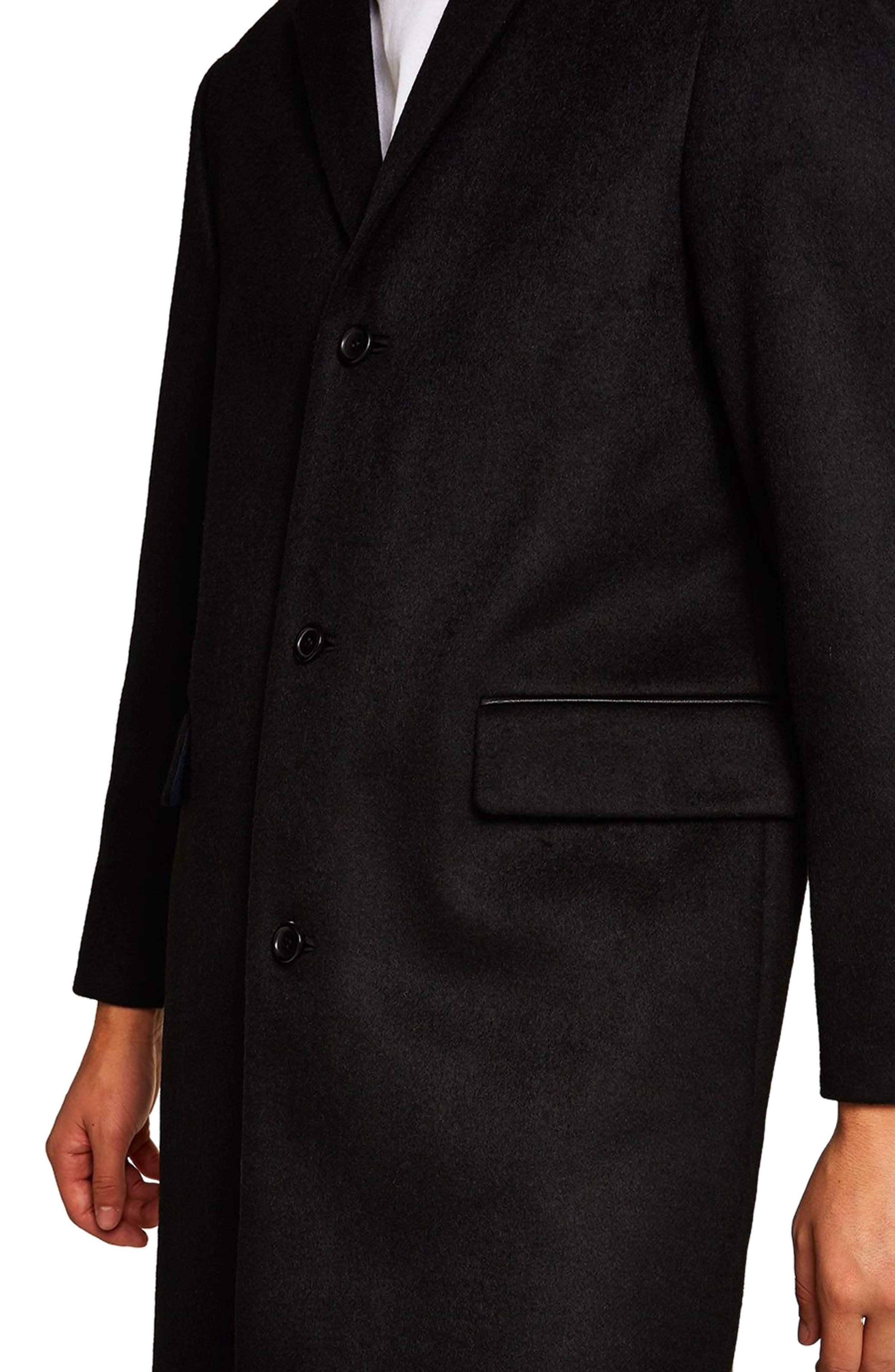 Wool Blend Overcoat,                             Alternate thumbnail 4, color,                             BLACK