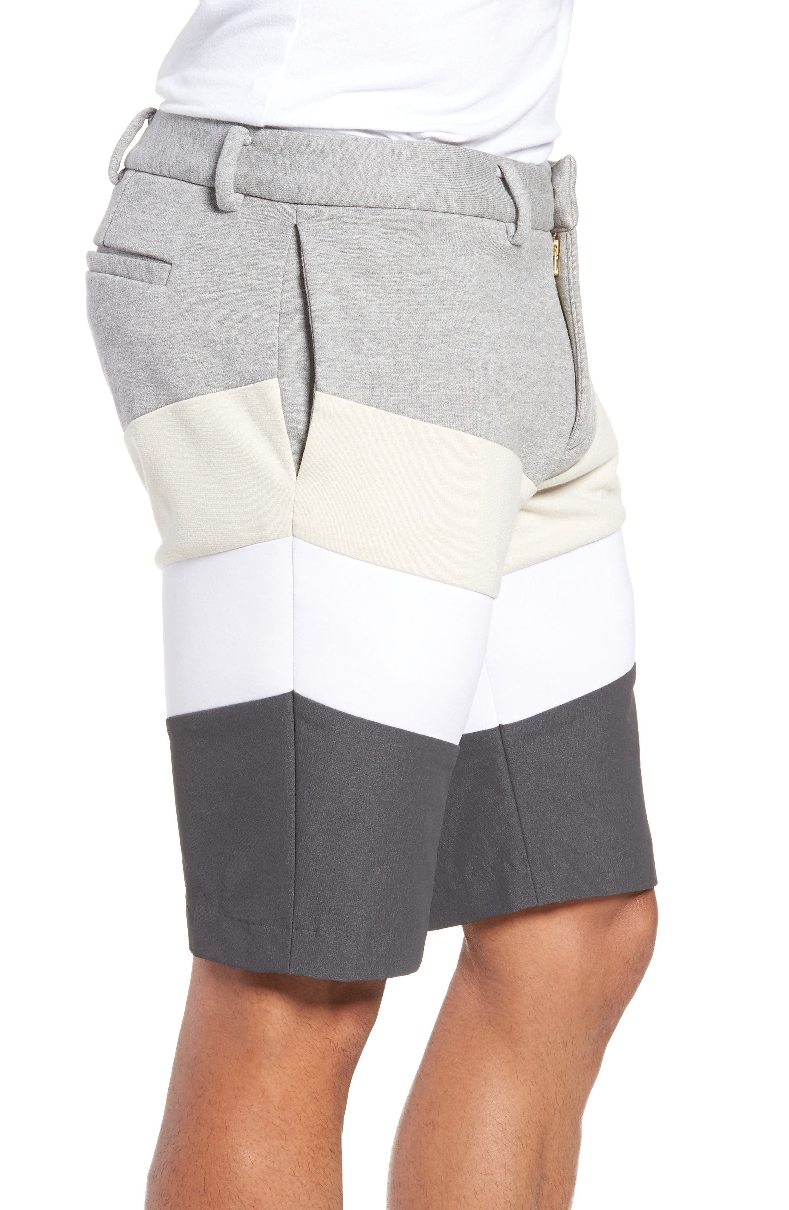 Chevron Colorblock Shorts,                             Alternate thumbnail 3, color,                             HEATHER GREY