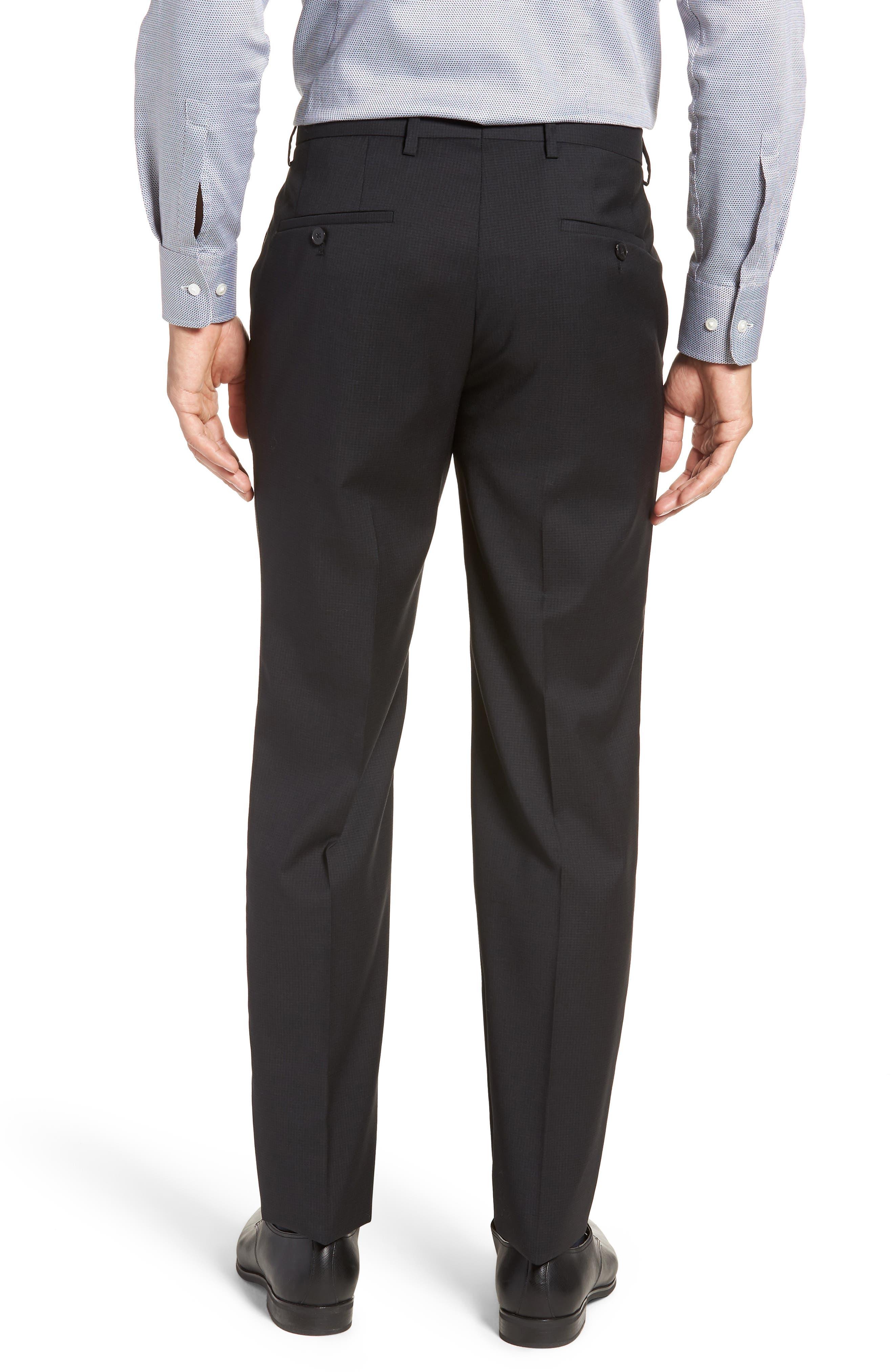 Leenon Flat Front Check Wool Trousers,                             Alternate thumbnail 2, color,                             BLACK
