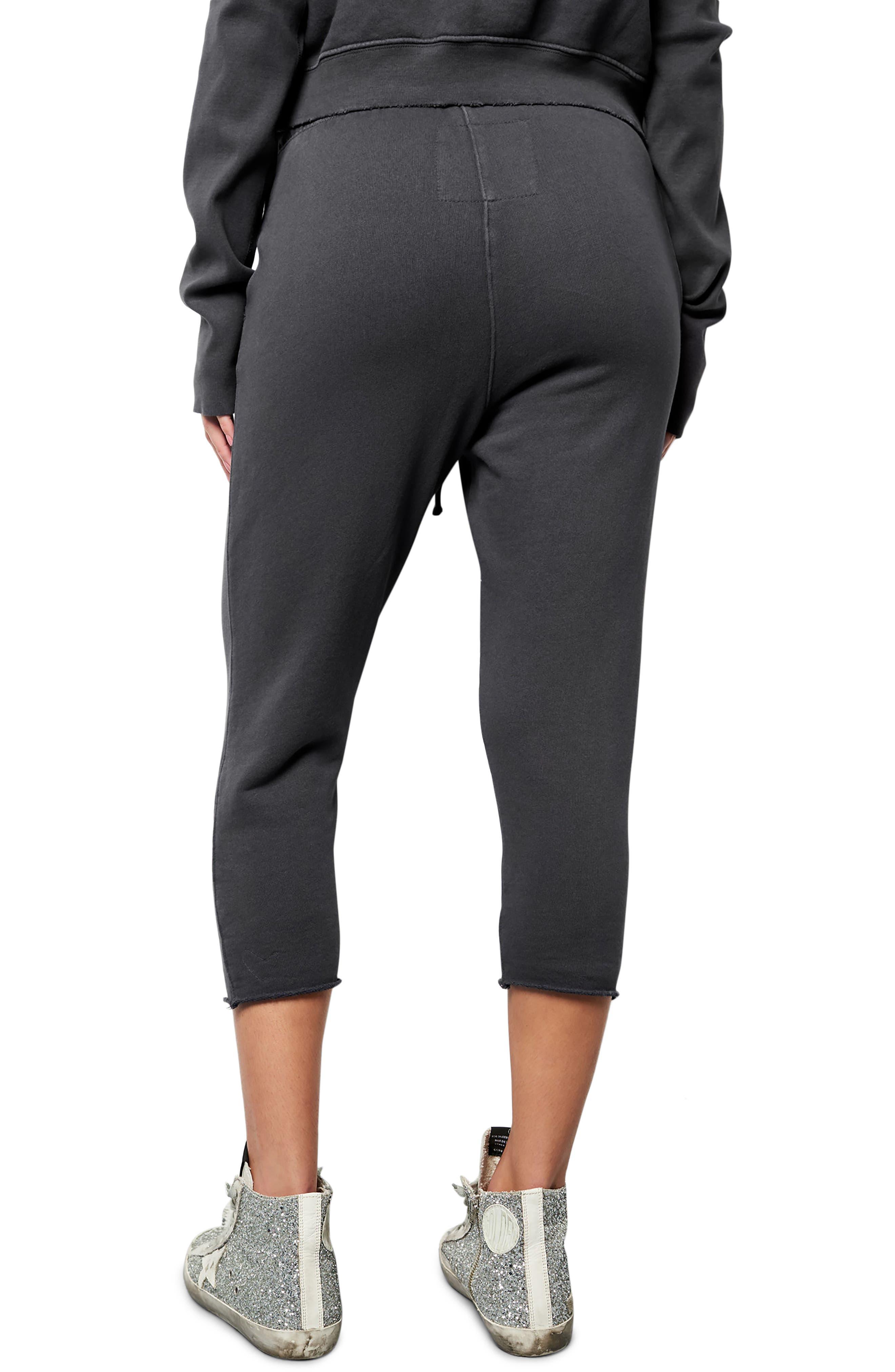 Raw Hem Crop Sweatpants,                             Alternate thumbnail 2, color,                             010