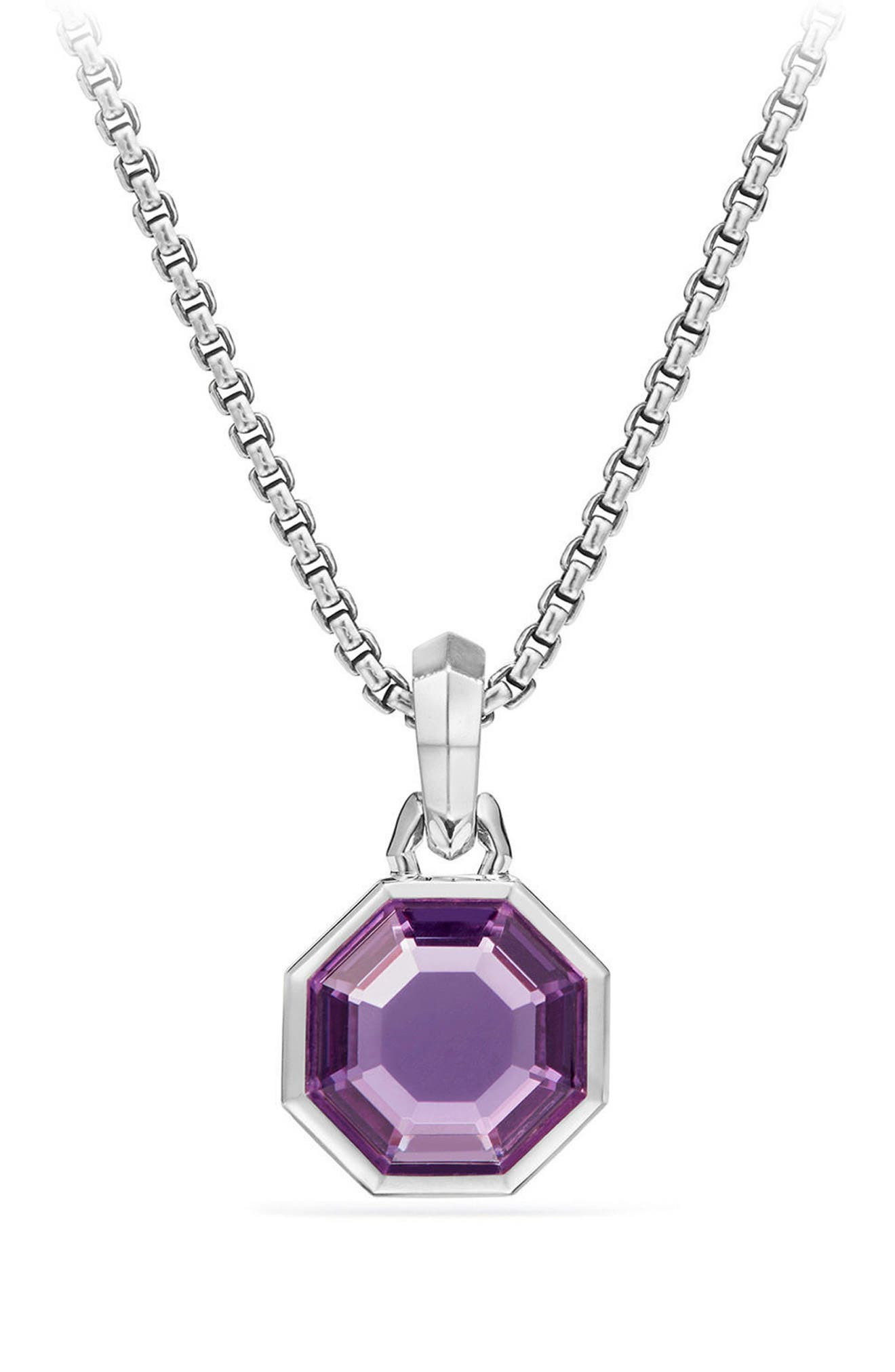 Cable Collectibles Octagon Cut Semiprecious Stone Amulet,                             Main thumbnail 1, color,                             AMETHYST
