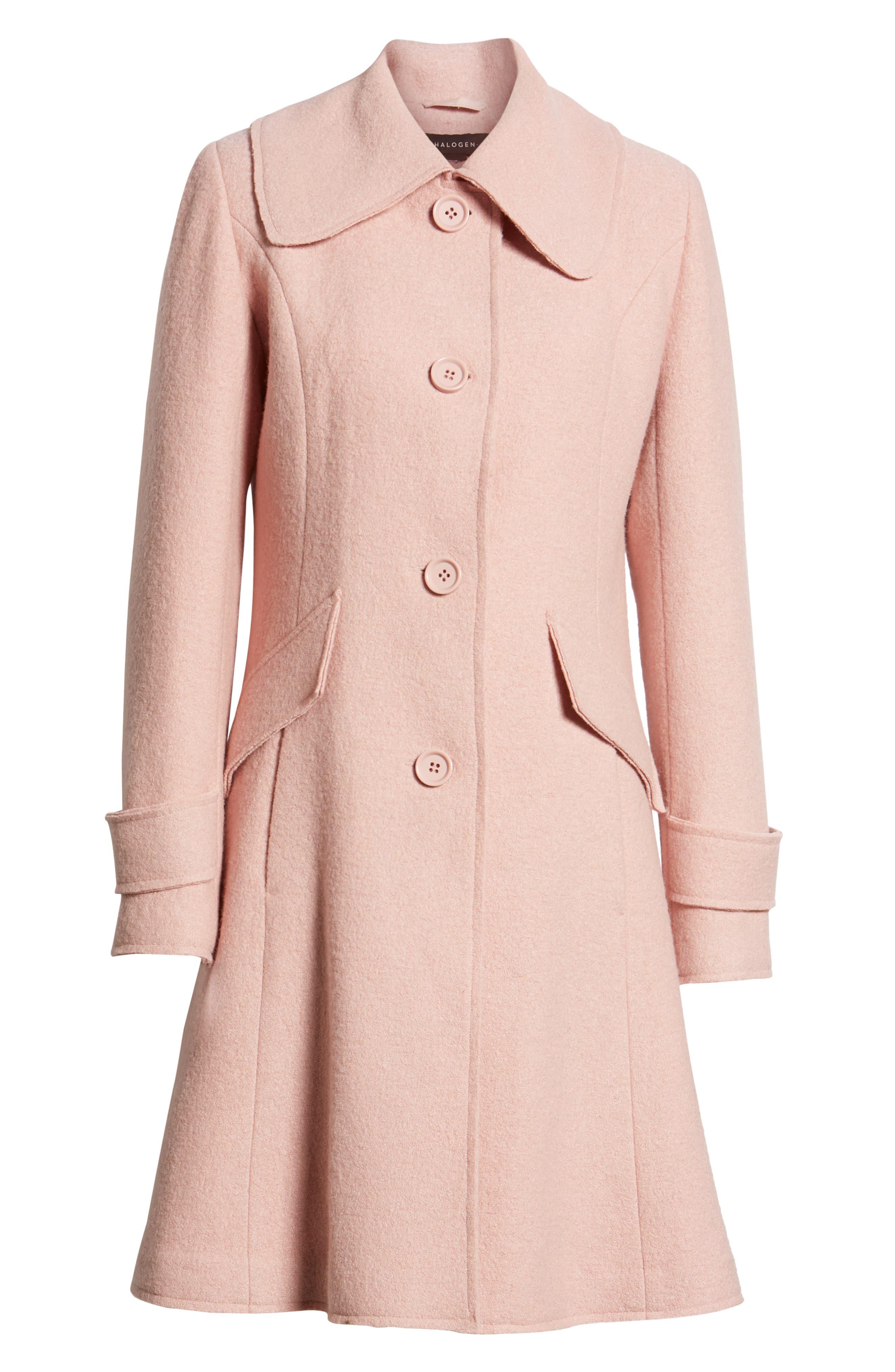 Boiled Wool Blend Fit & Flare Coat,                             Alternate thumbnail 6, color,                             BLUSH