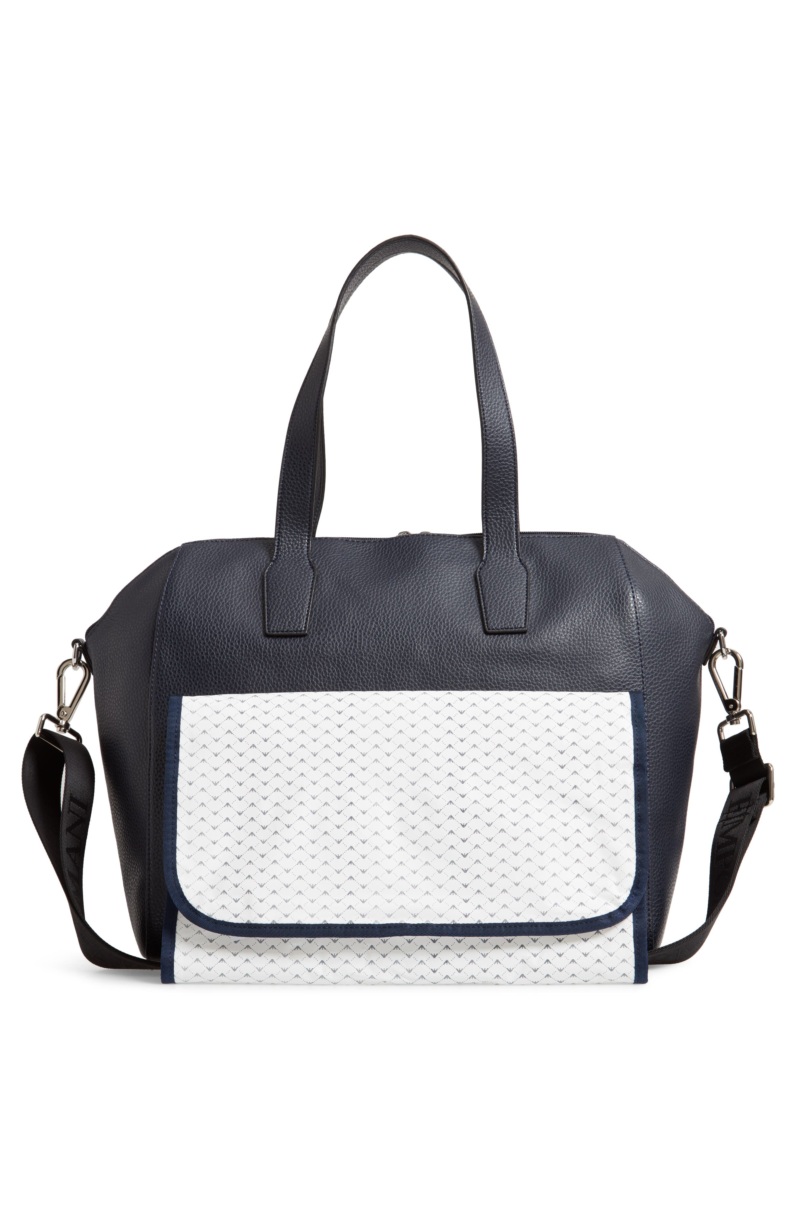 Faux Leather Diaper Bag,                             Alternate thumbnail 3, color,                             SOLID BLUE NAVY