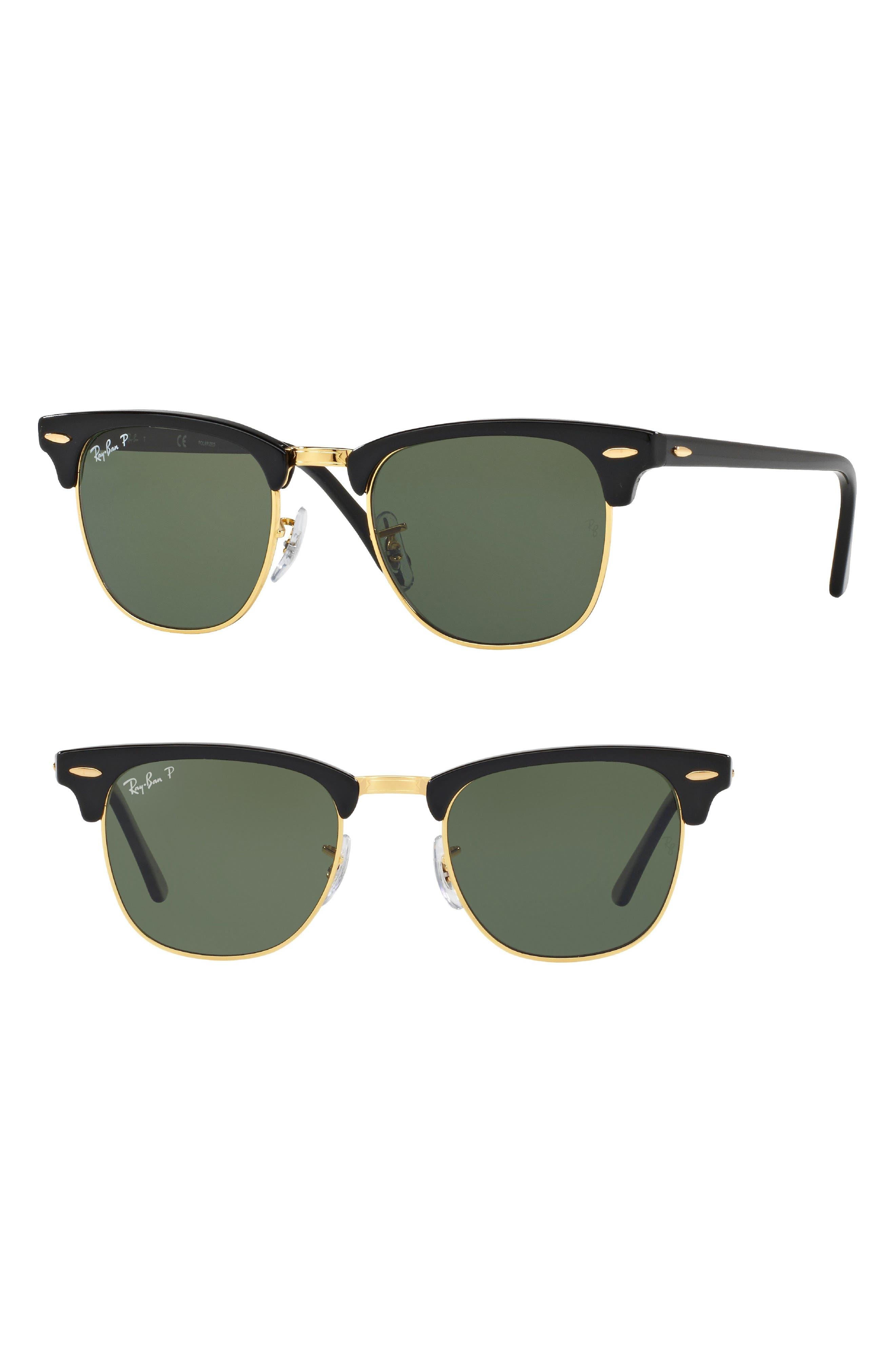 Clubmaster 51mm Polarized Sunglasses,                             Main thumbnail 1, color,                             BLACK